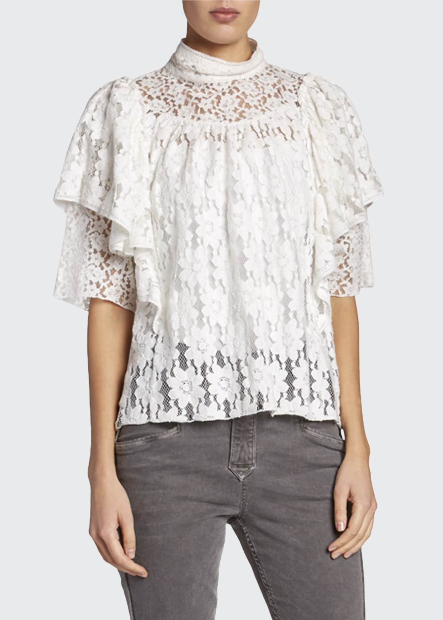 Etoile Isabel Marant Vetea High-Neck Tiered Lace Ruffle