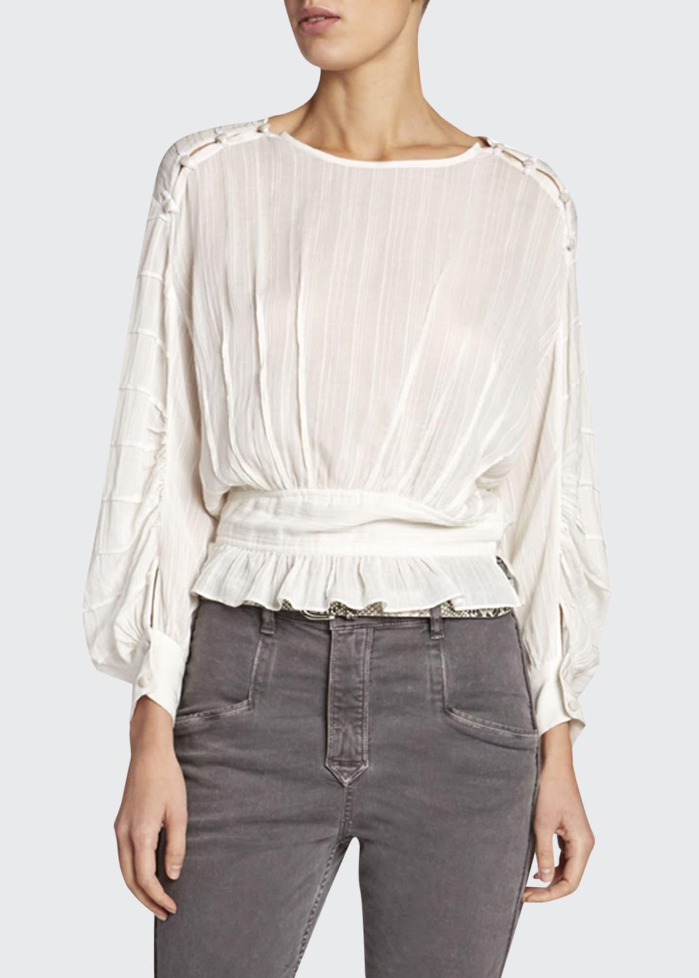 Etoile Isabel Marant Oak Viscose Blouson-Sleeve Blouse with