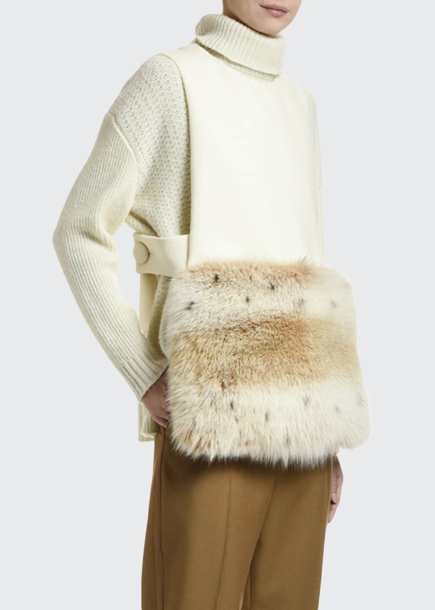 Marni Sleeveless Fox Fur-Hem Flannel Top