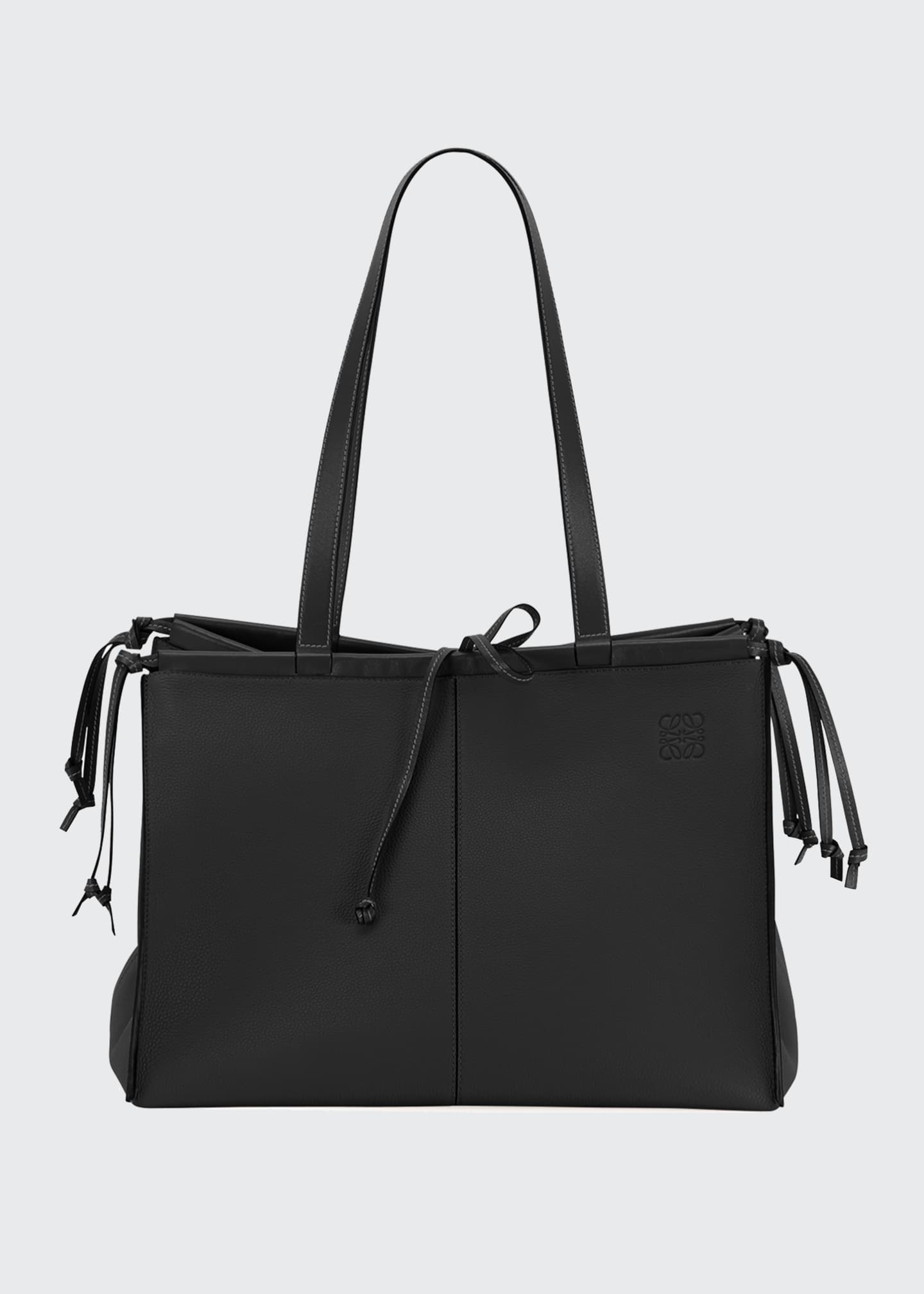 Image 1 of 4: Cushion Soft Grained Calf Leather Tote Bag