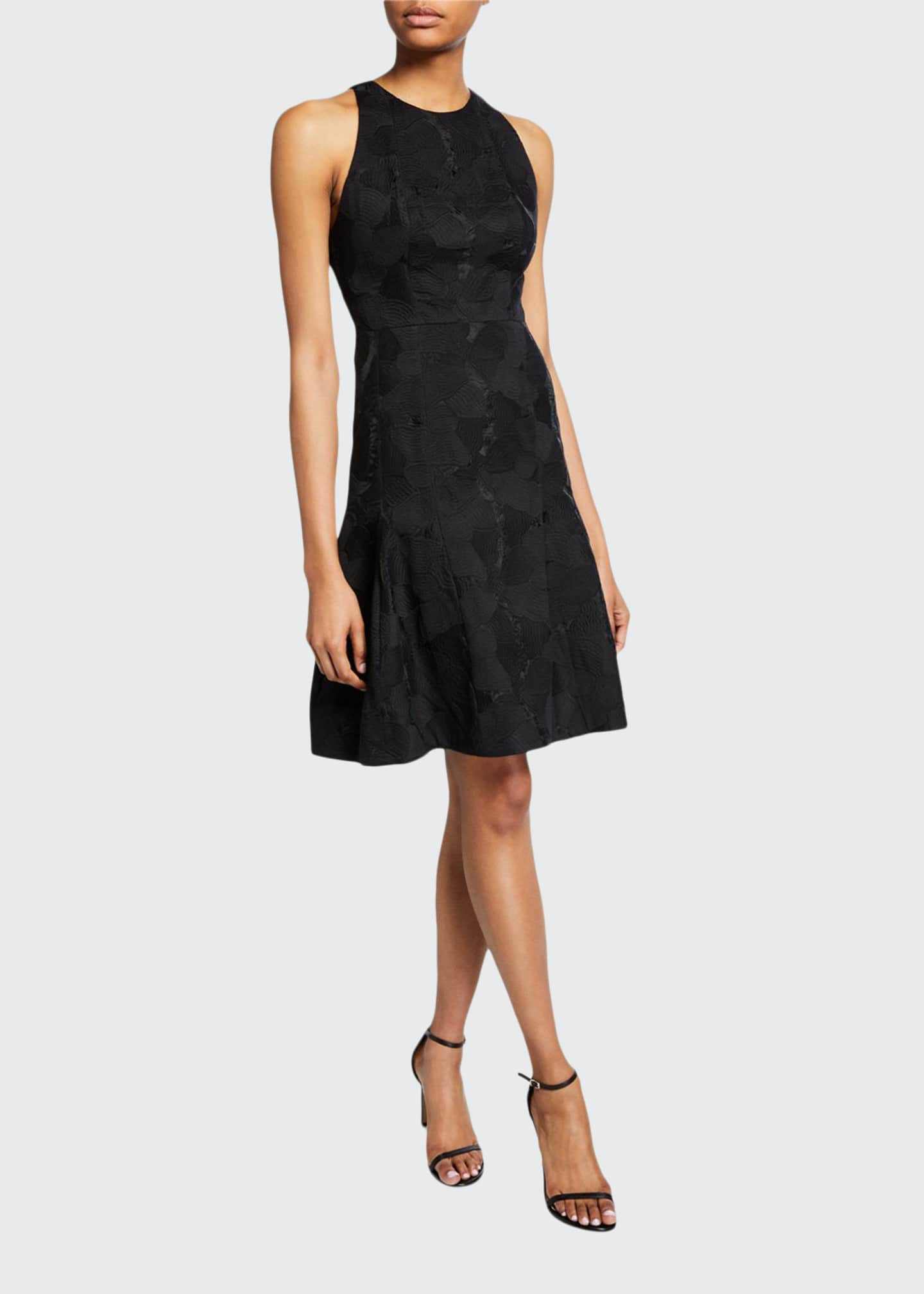 Halston Sleeveless High-Neck Tulip Fit-&-Flare Jacquard Dress