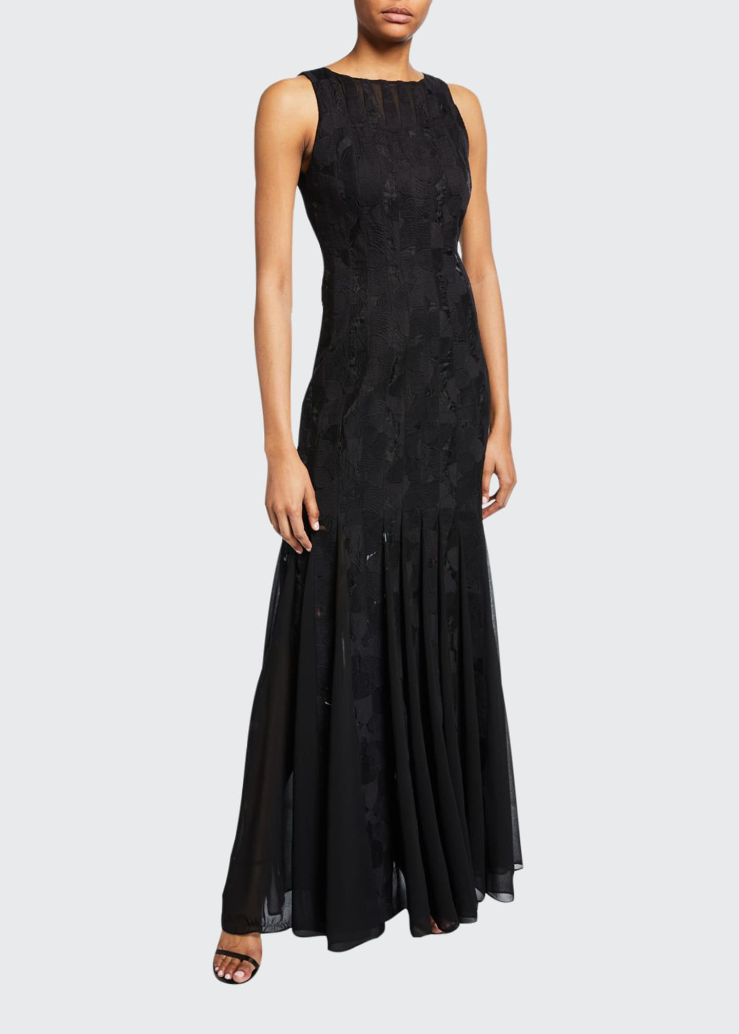 Image 1 of 2: Sleeveless Boatneck Crepe Strip Gown