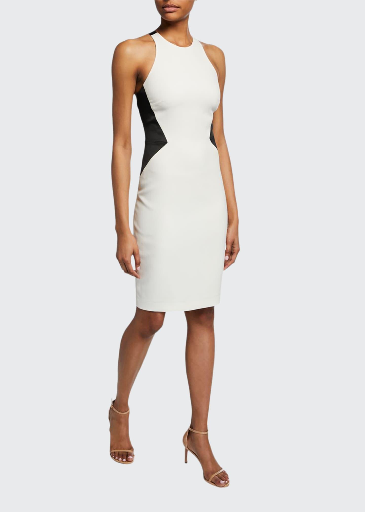Halston Sleeveless Halter-Neck Dress with Strap Detail