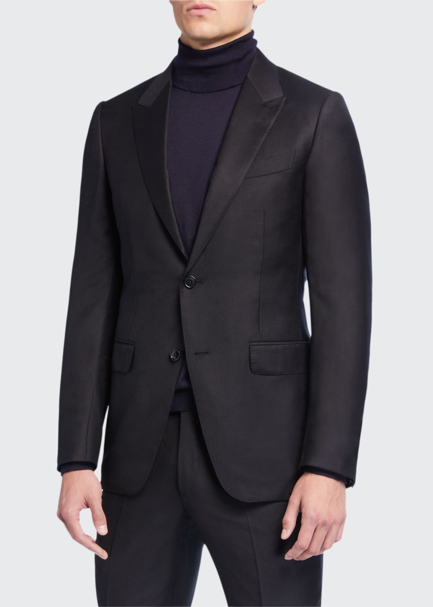 Image 1 of 4: Men's Textured Two-Piece Trim-Fit Wool Silk