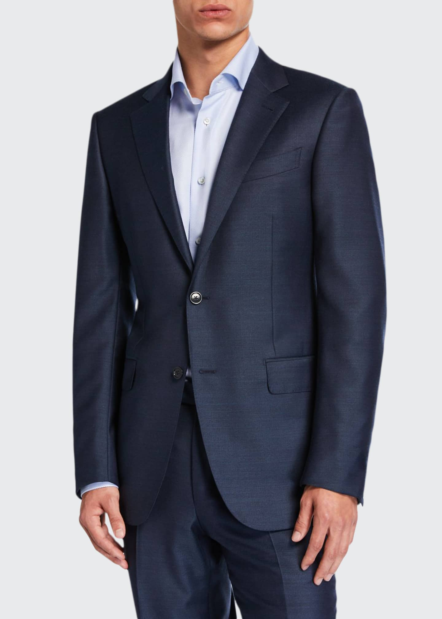Image 1 of 4: Men's Solid Wool-Silk Two-Piece Regular-Fit Suit
