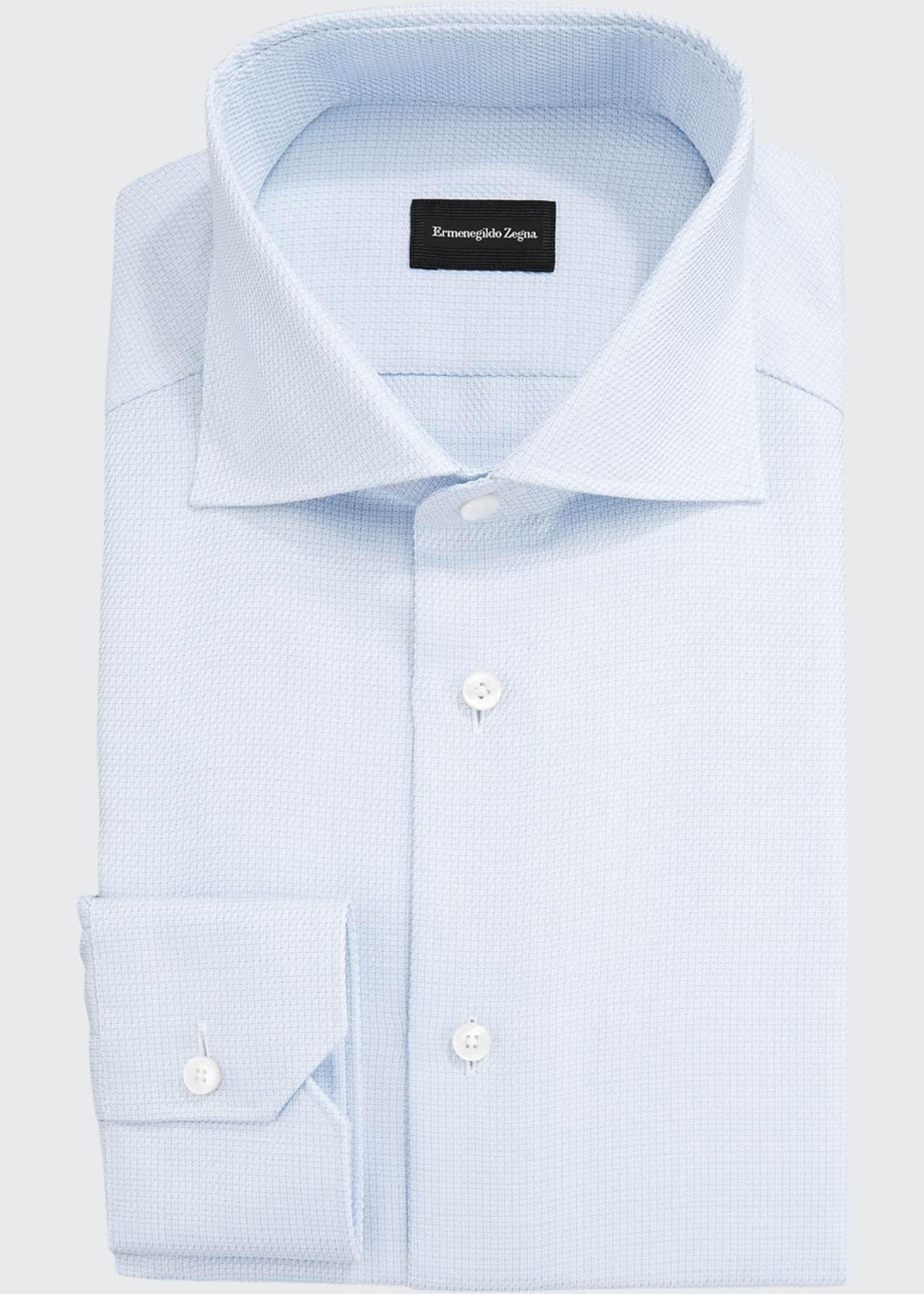 Ermenegildo Zegna Men's Stair Weave Dress Shirt