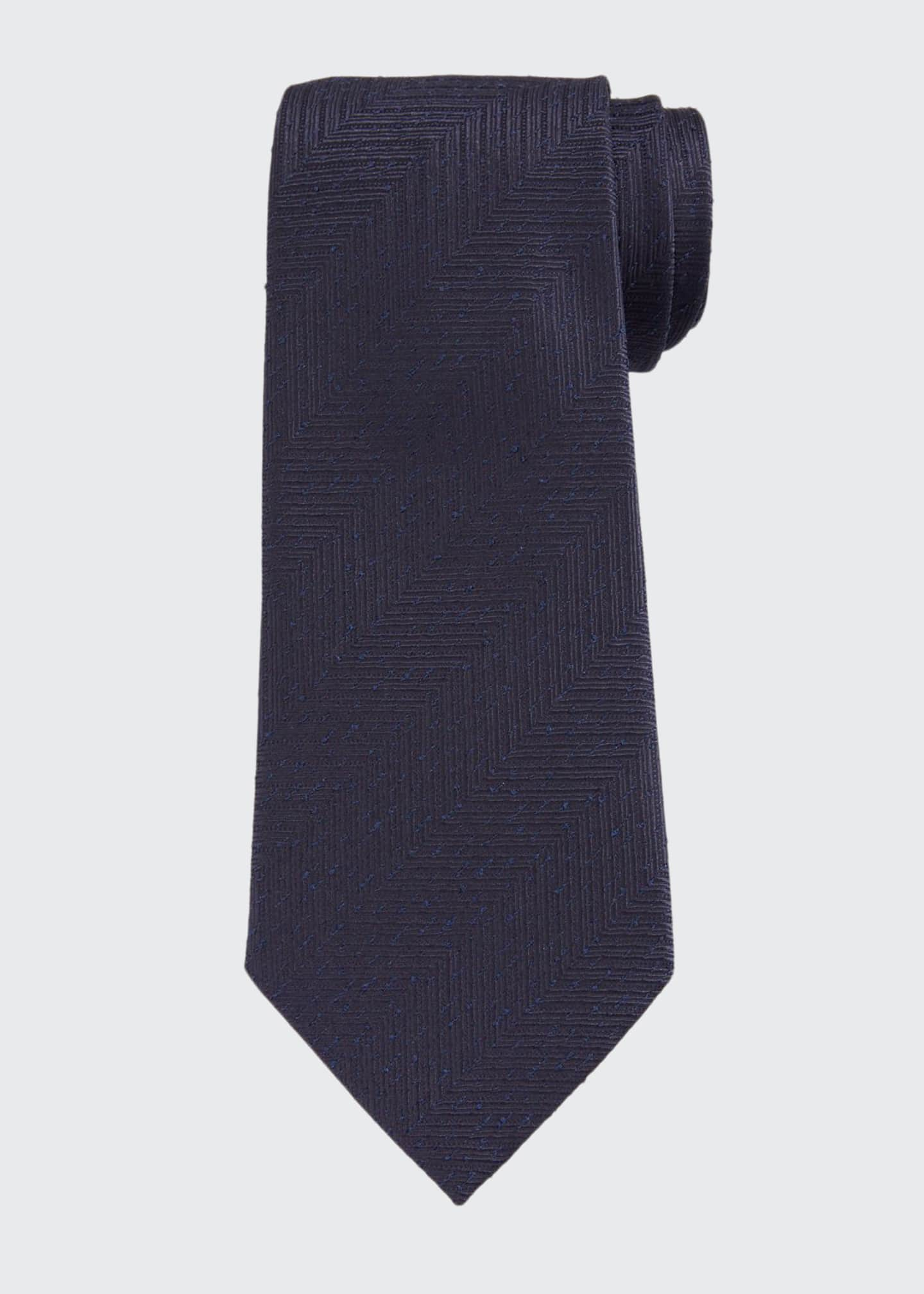 Image 1 of 1: Men's Large Chevron Silk Tie, Navy