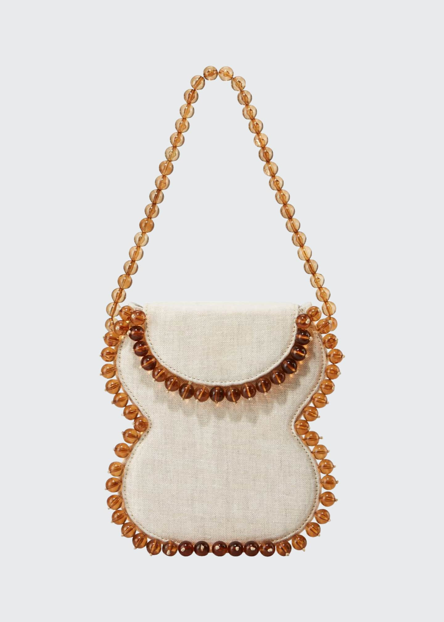 Image 1 of 3: Frida Beaded Linen Top-Handle Bag