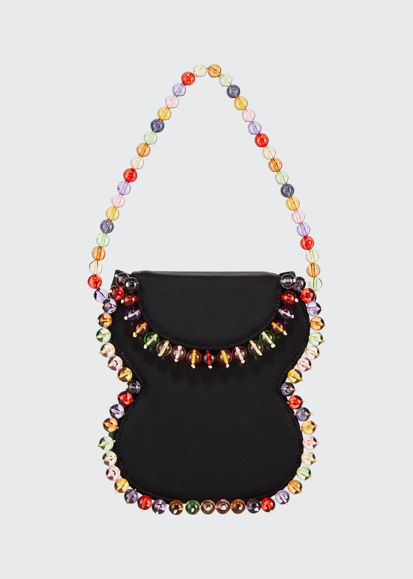 Image 1 of 3: Frida Beaded Grosgrain Top-Handle Bag