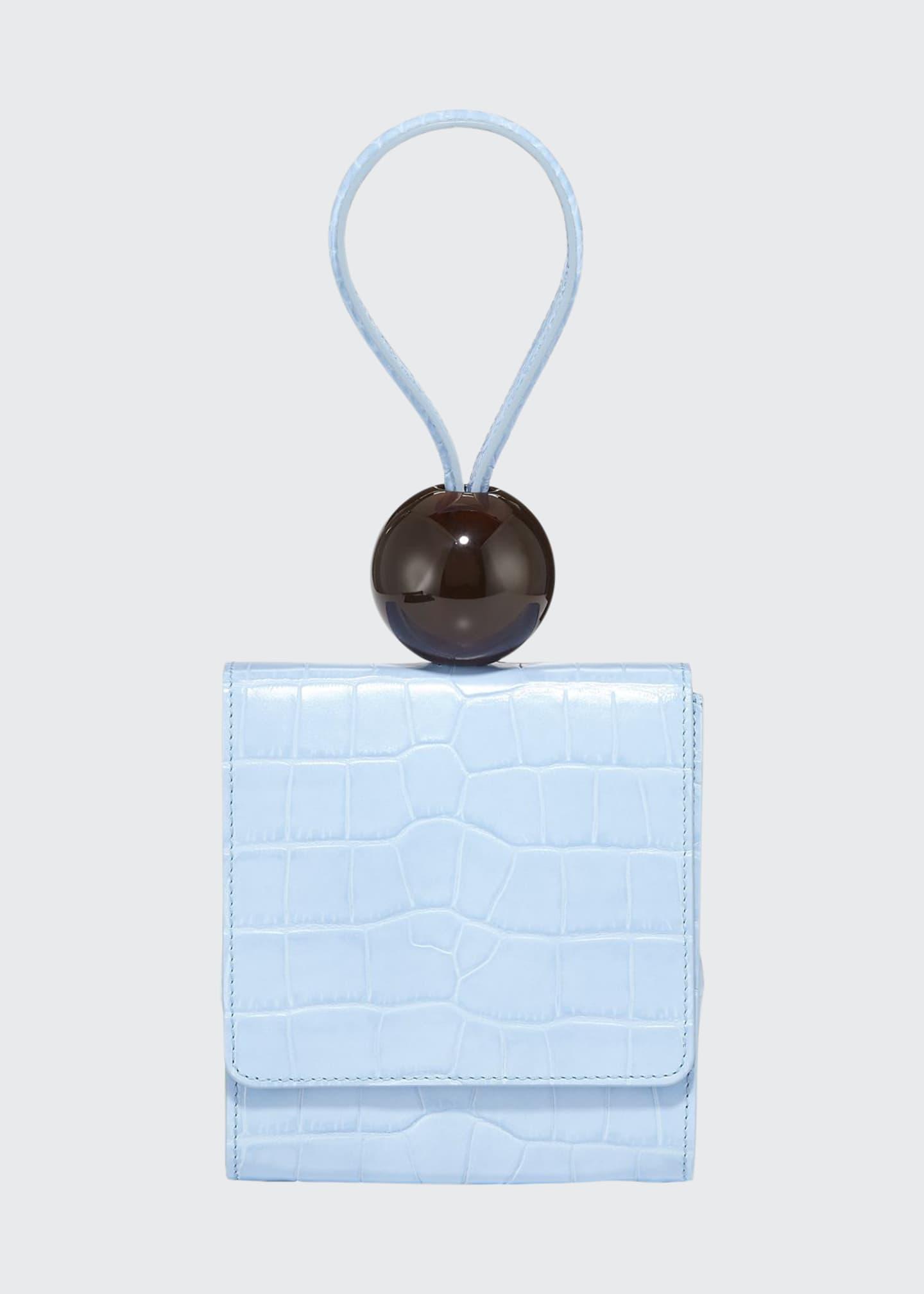 BY FAR Crocodile-Embossed Top-Handle Ball Bag, Sky