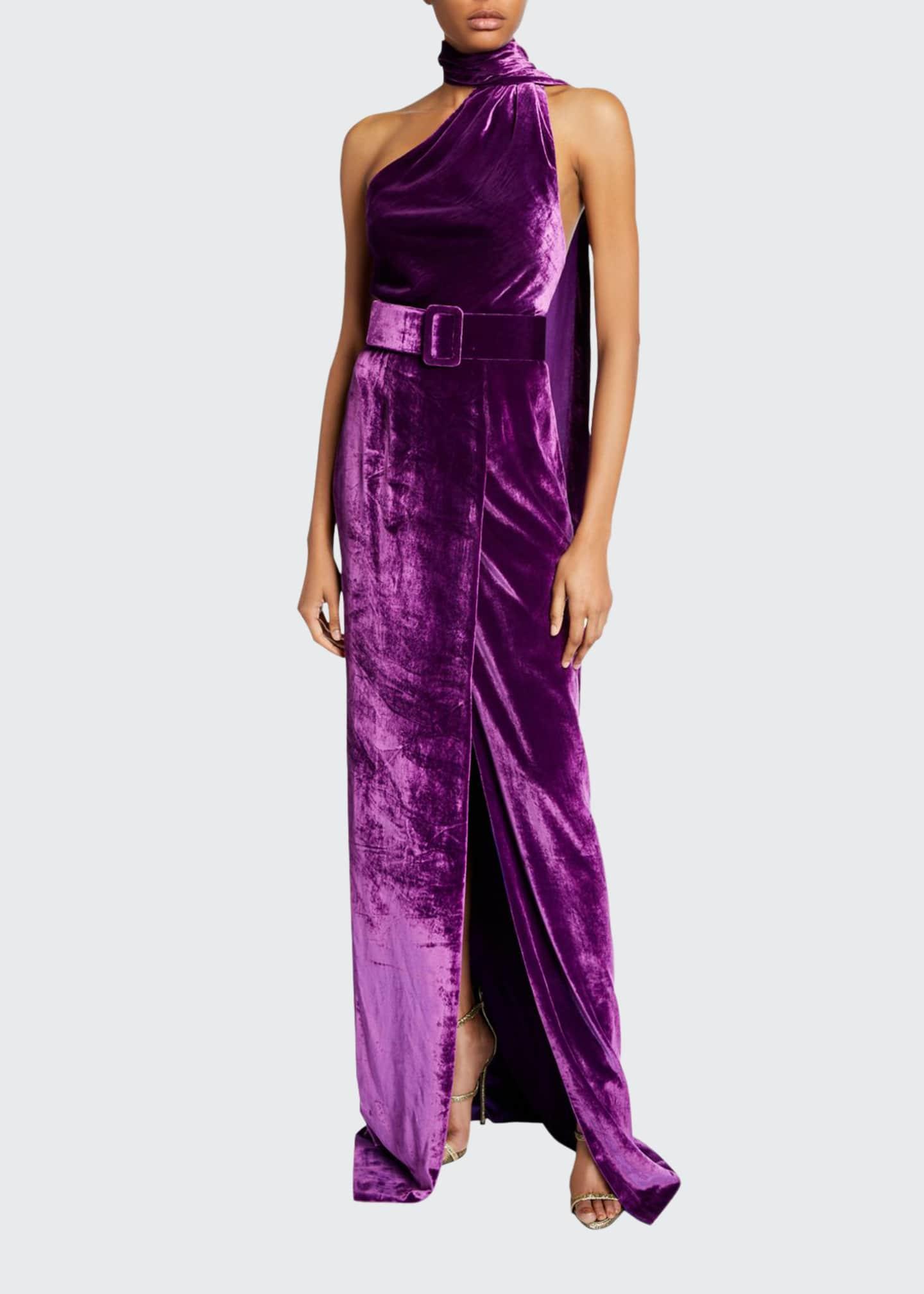 Naeem Khan Asymmetric Velvet Halter-Neck Gown