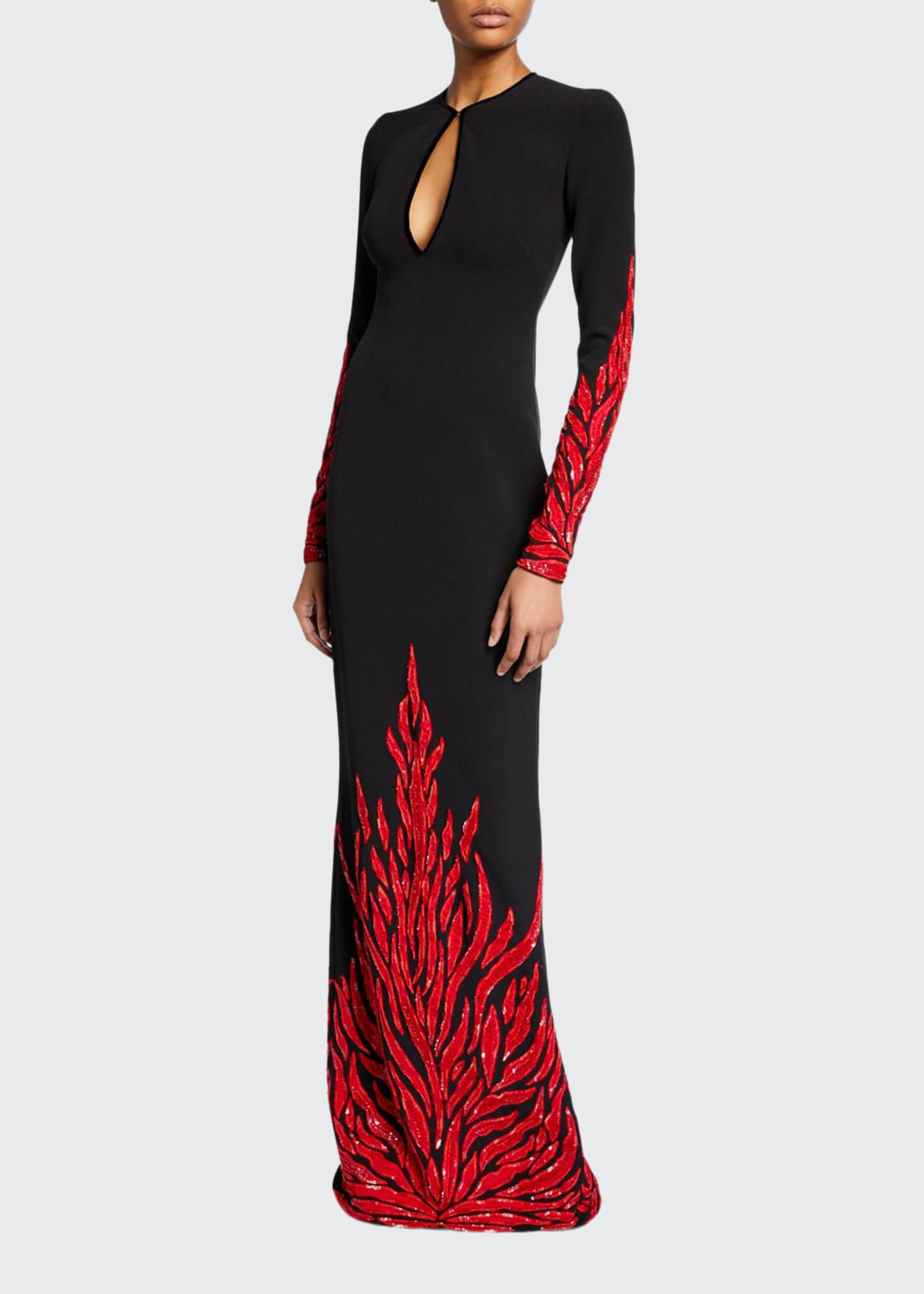 Image 1 of 2: Fire-Embellished Long-Sleeve Keyhole Gown