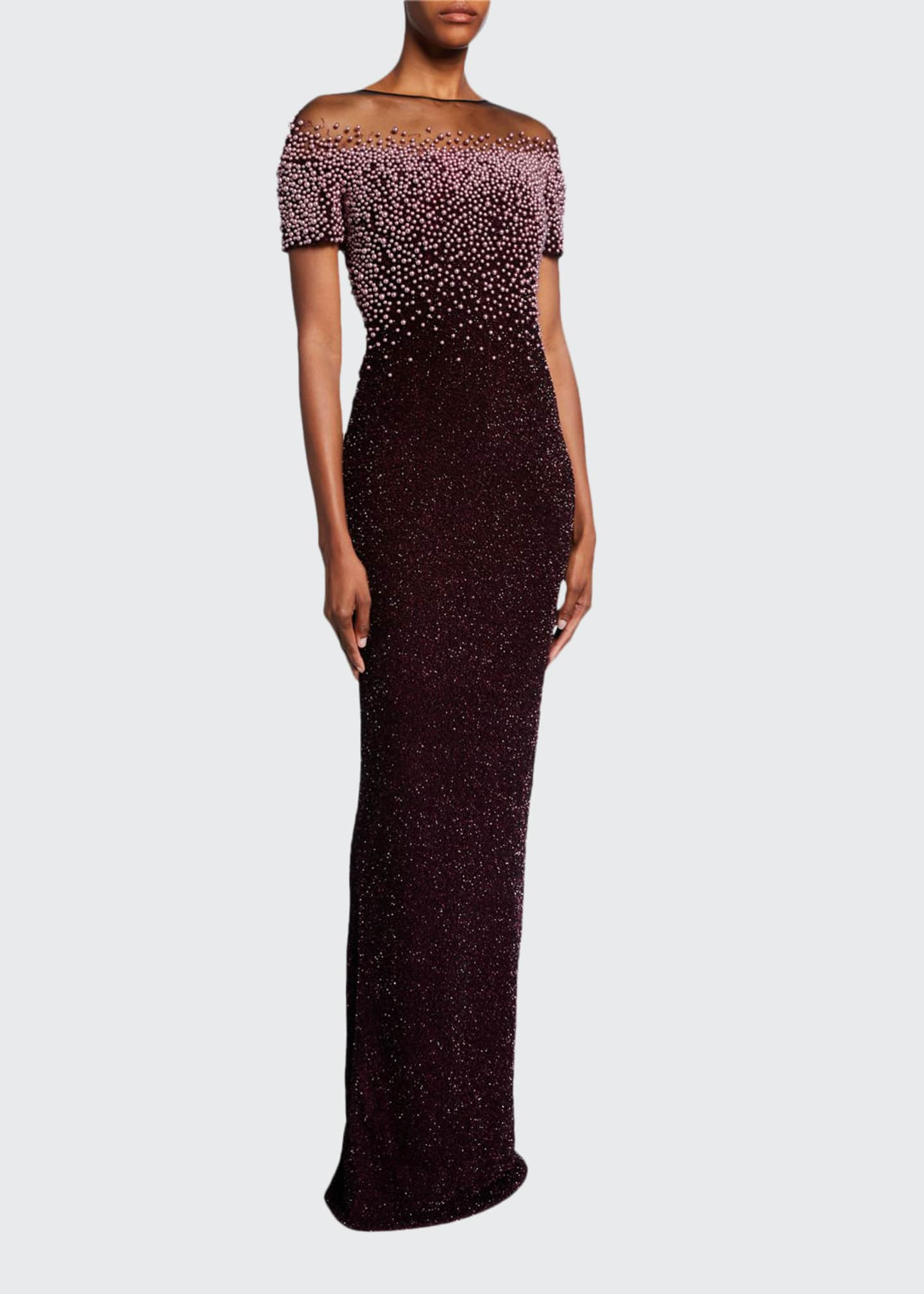Pamella Roland Pearl-Embroidered Shimmer Column Gown