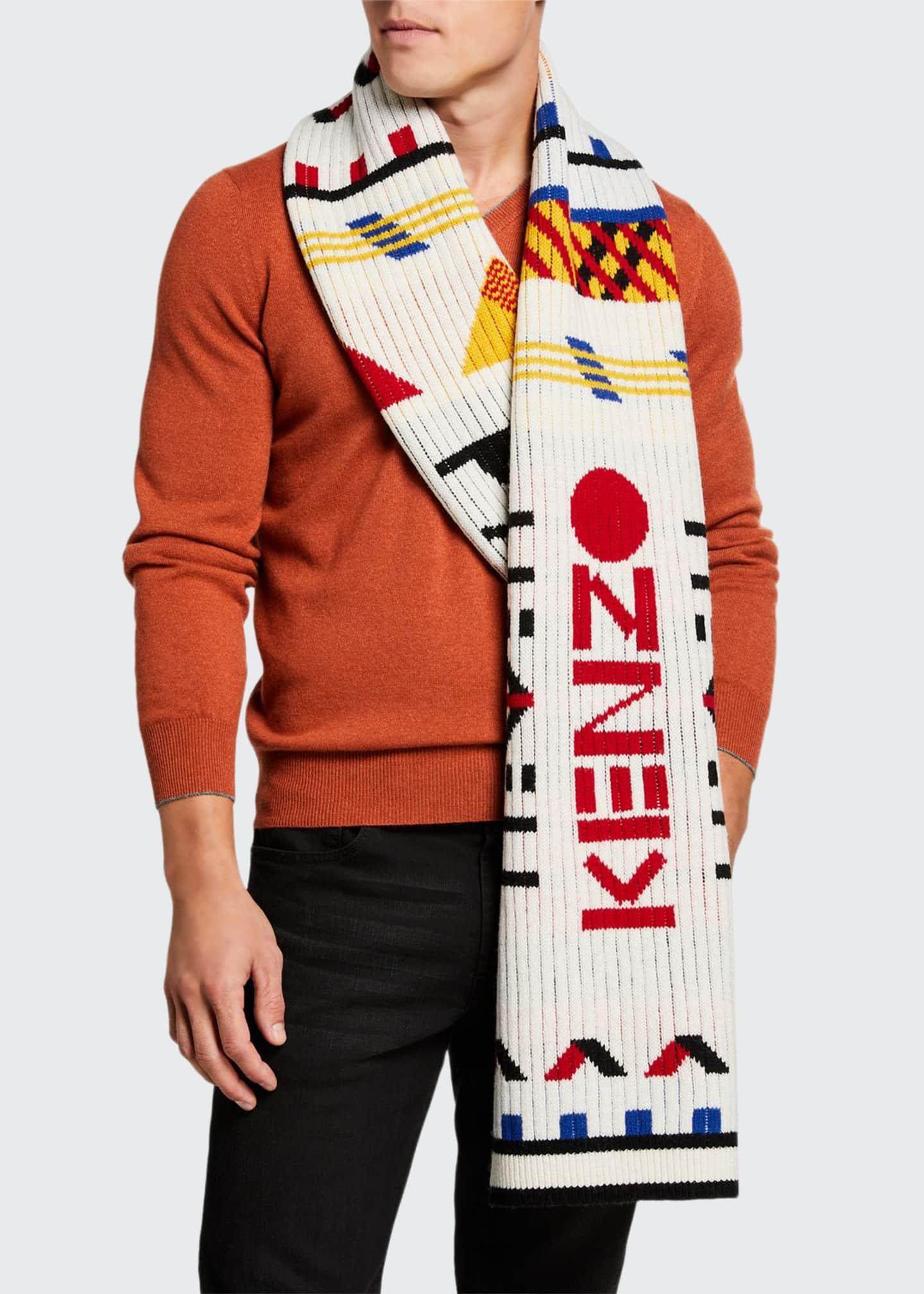 Kenzo Men's Multipattern Peruvian-Knit Logo Scarf