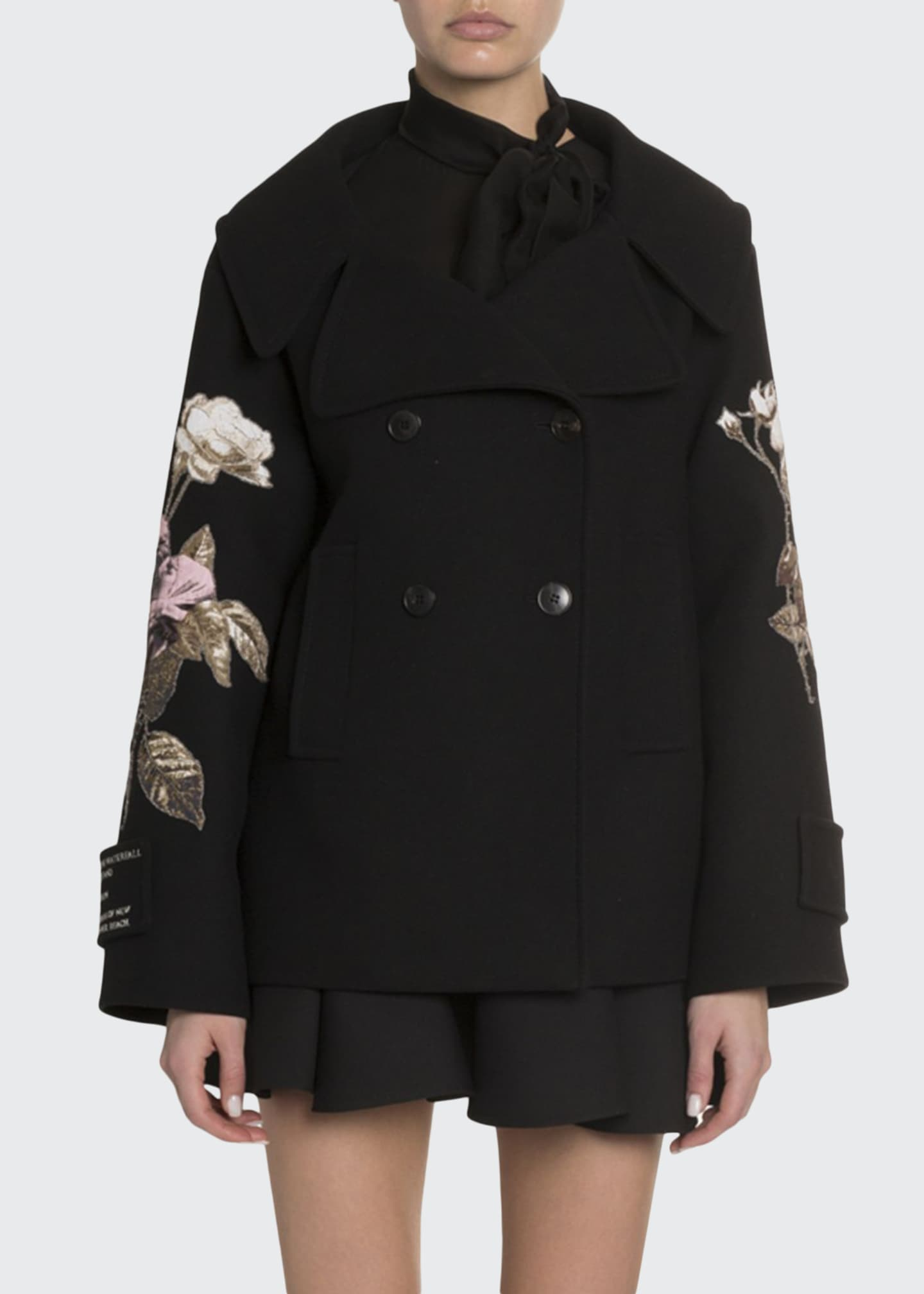 Image 1 of 4: Rose Embroidered Open-Collar Coat