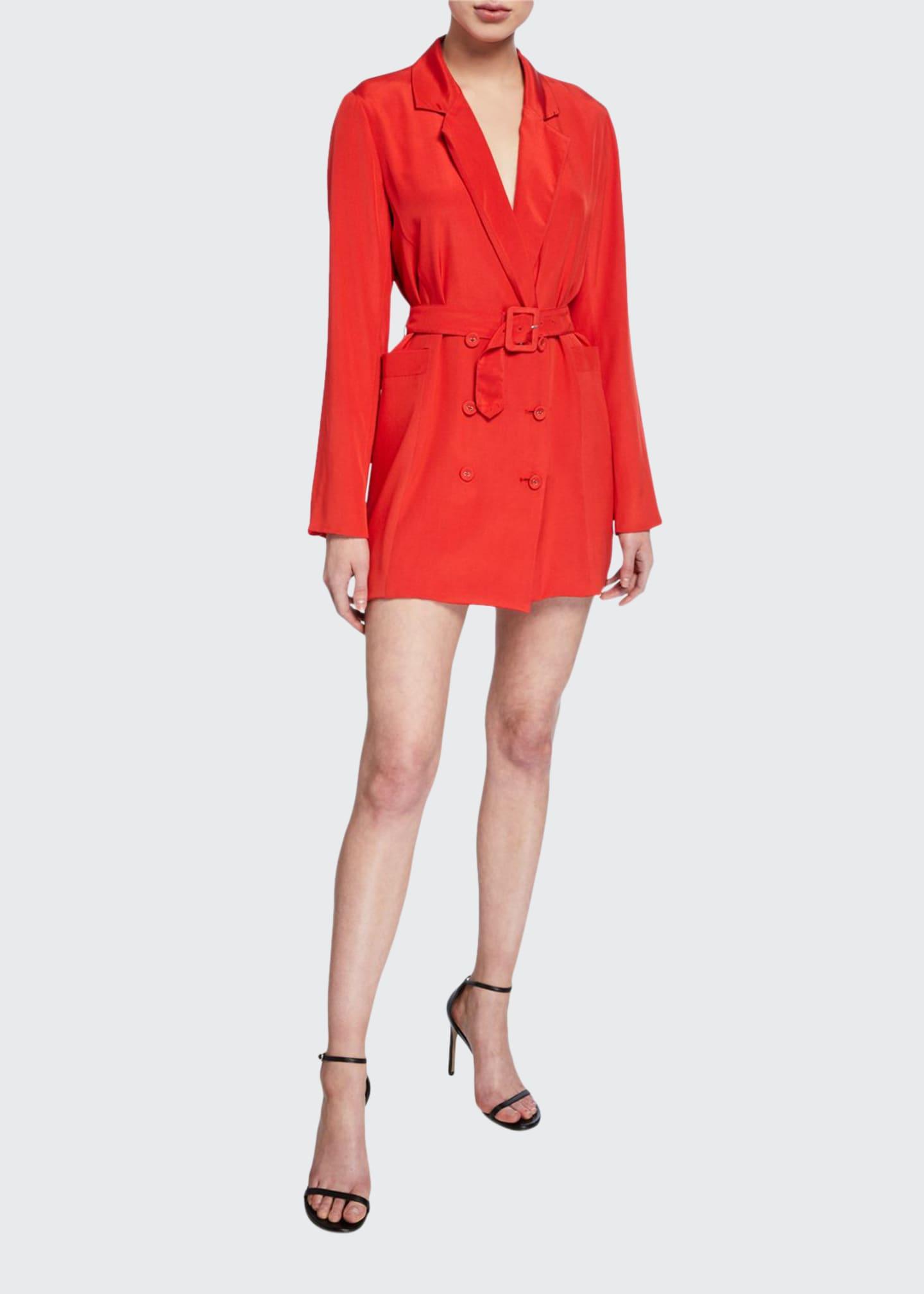 Fleur Du Mal Belted Mini Blazer Dress
