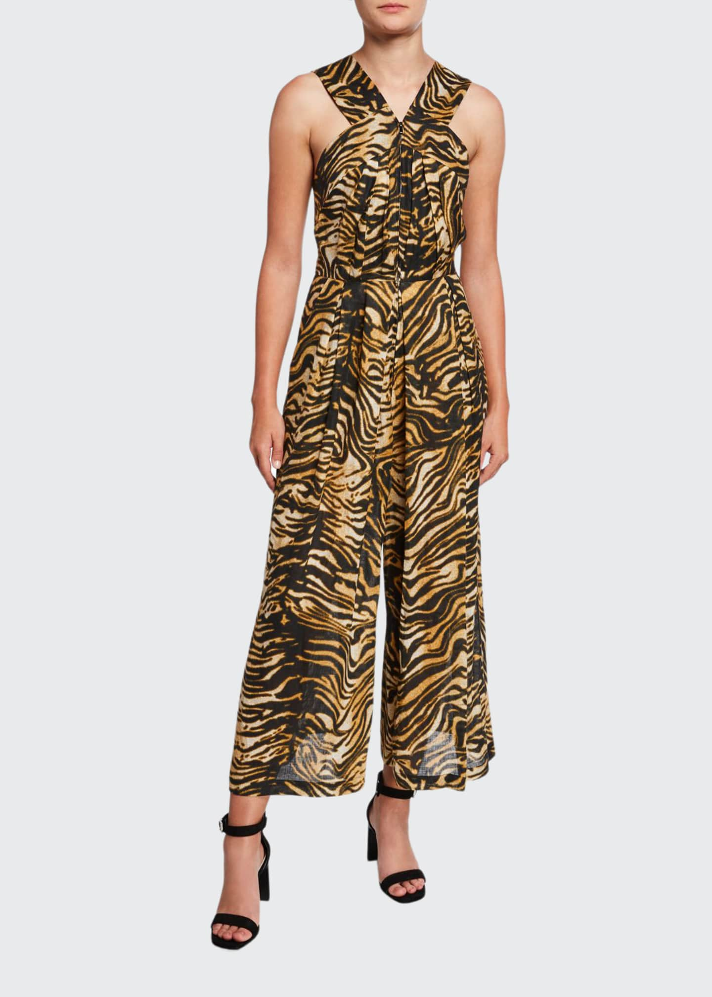 Image 1 of 2: Ines Animal-Print Zip-Front Jumpsuit