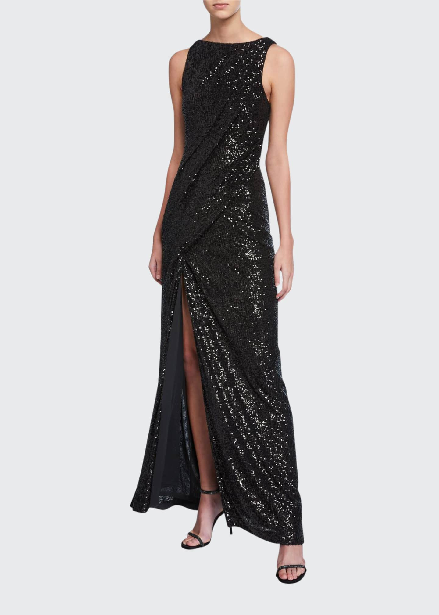 Image 1 of 2: Sequined Ruched Column Gown