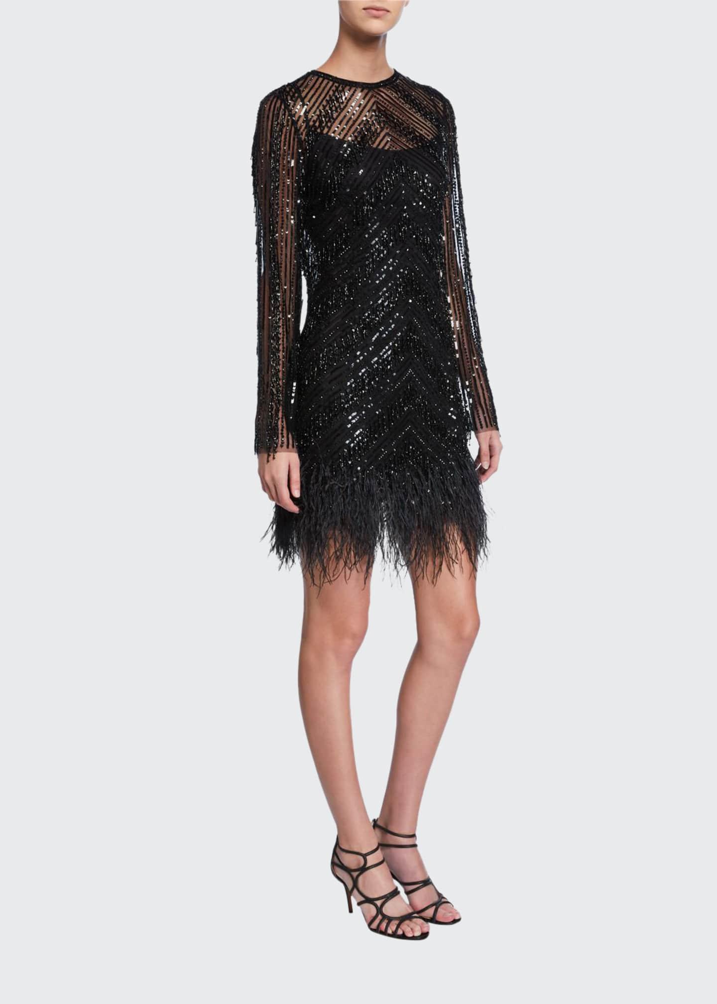 Rachel Gilbert Embellished Long-Sleeve Cocktail Dress