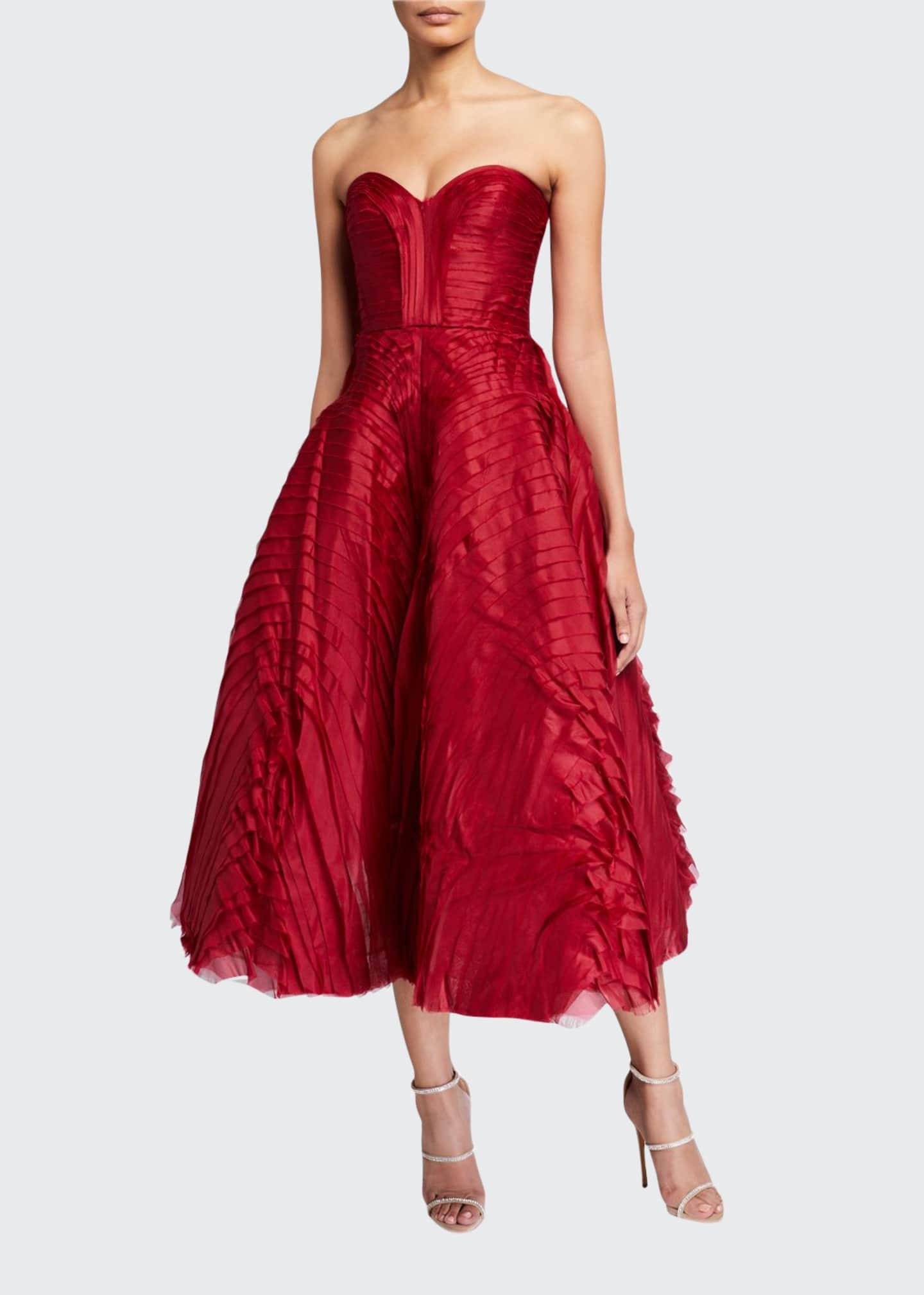 J. Mendel Pleated Satin Strapless Tea-Length Dress