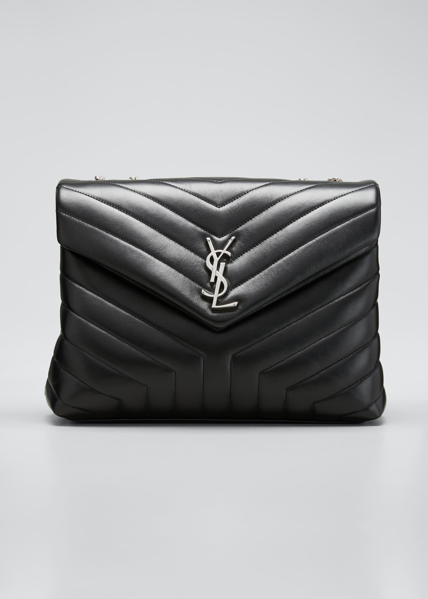 Image 1 of 1: Loulou Medium YSL Matelasse Calfskin Flap-Top Shoulder Bag