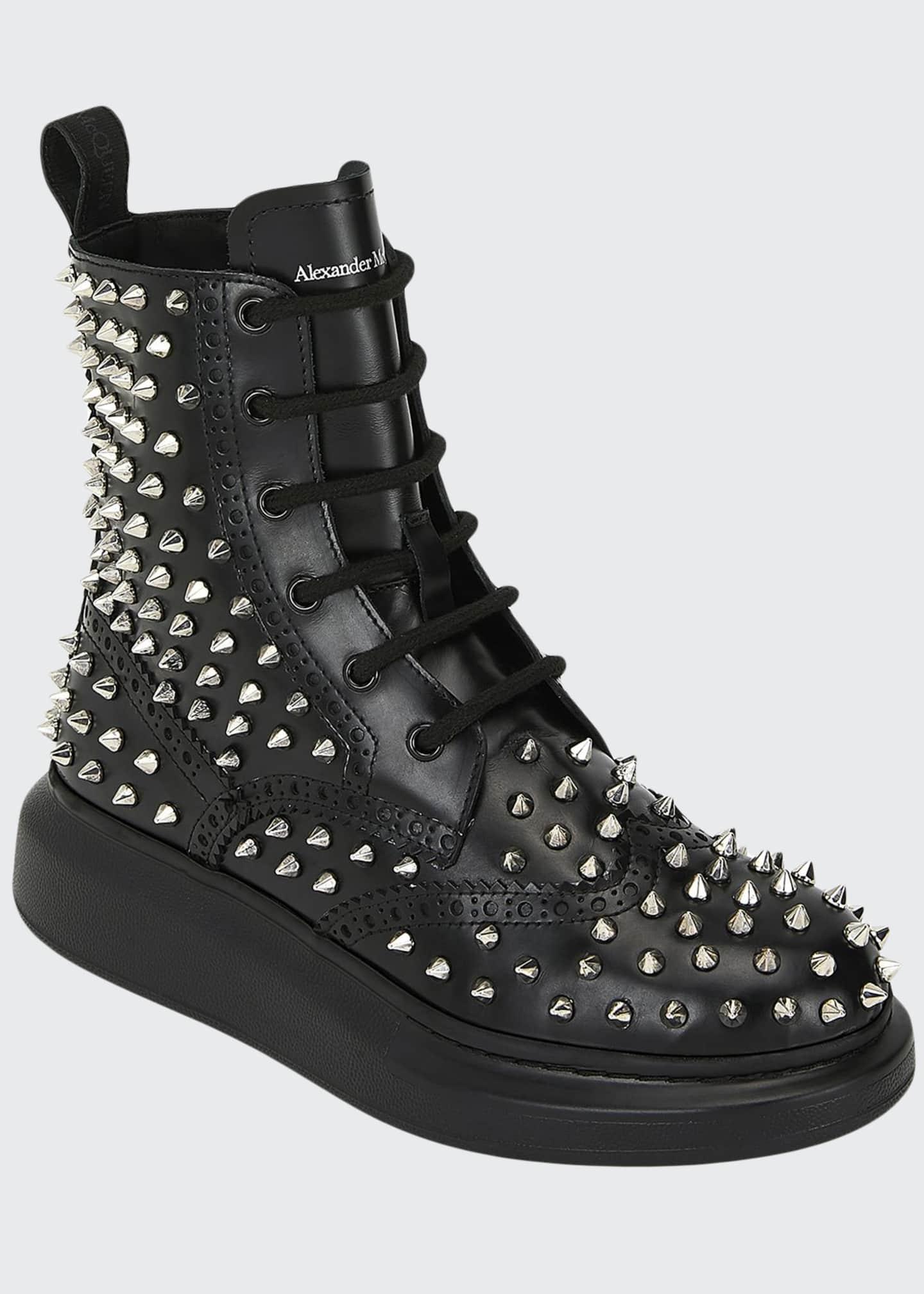 Alexander McQueen High-Top Spike Leather Boots