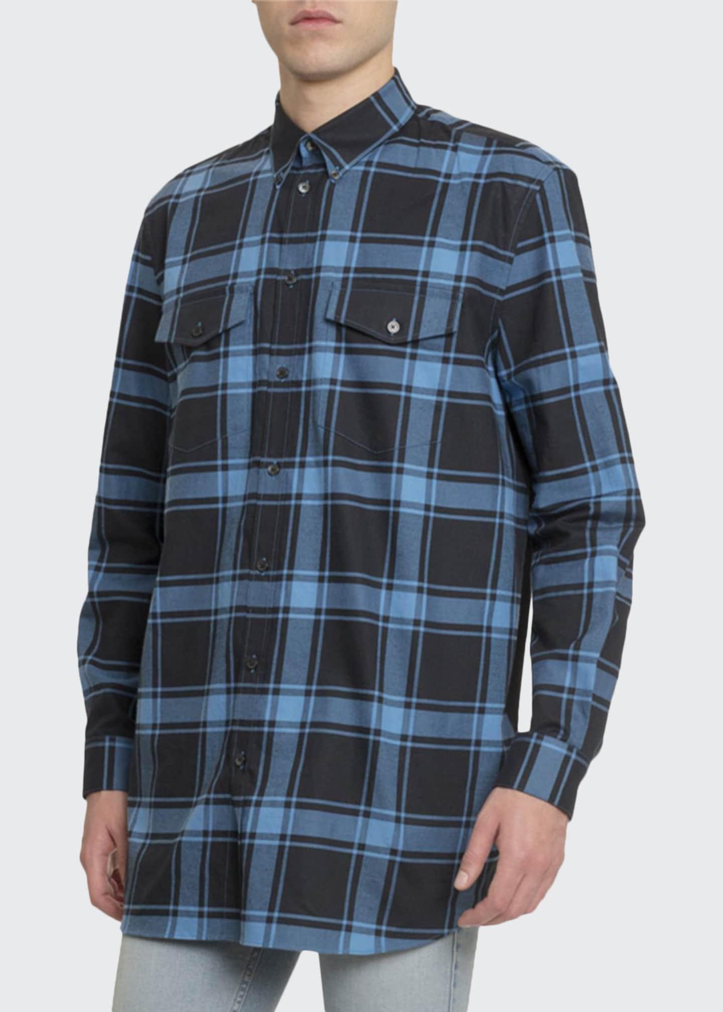 Givenchy Men's Plaid Classic Sport Shirt w/ Tape