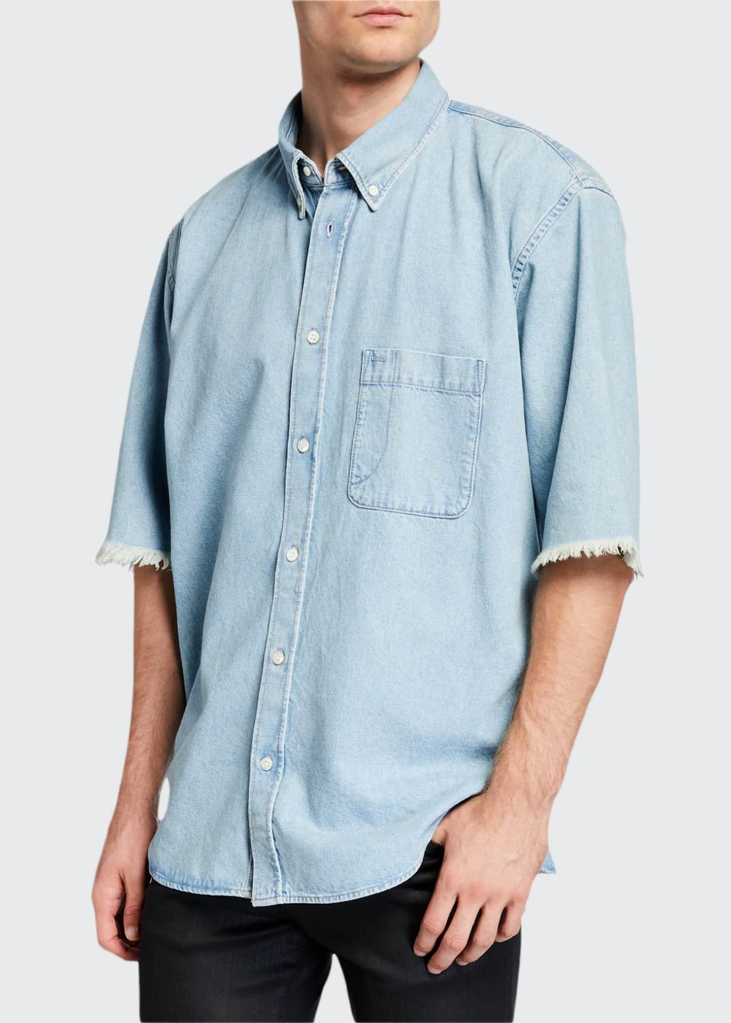 Balenciaga Men's Chambray Short-Sleeve Sport Shirt
