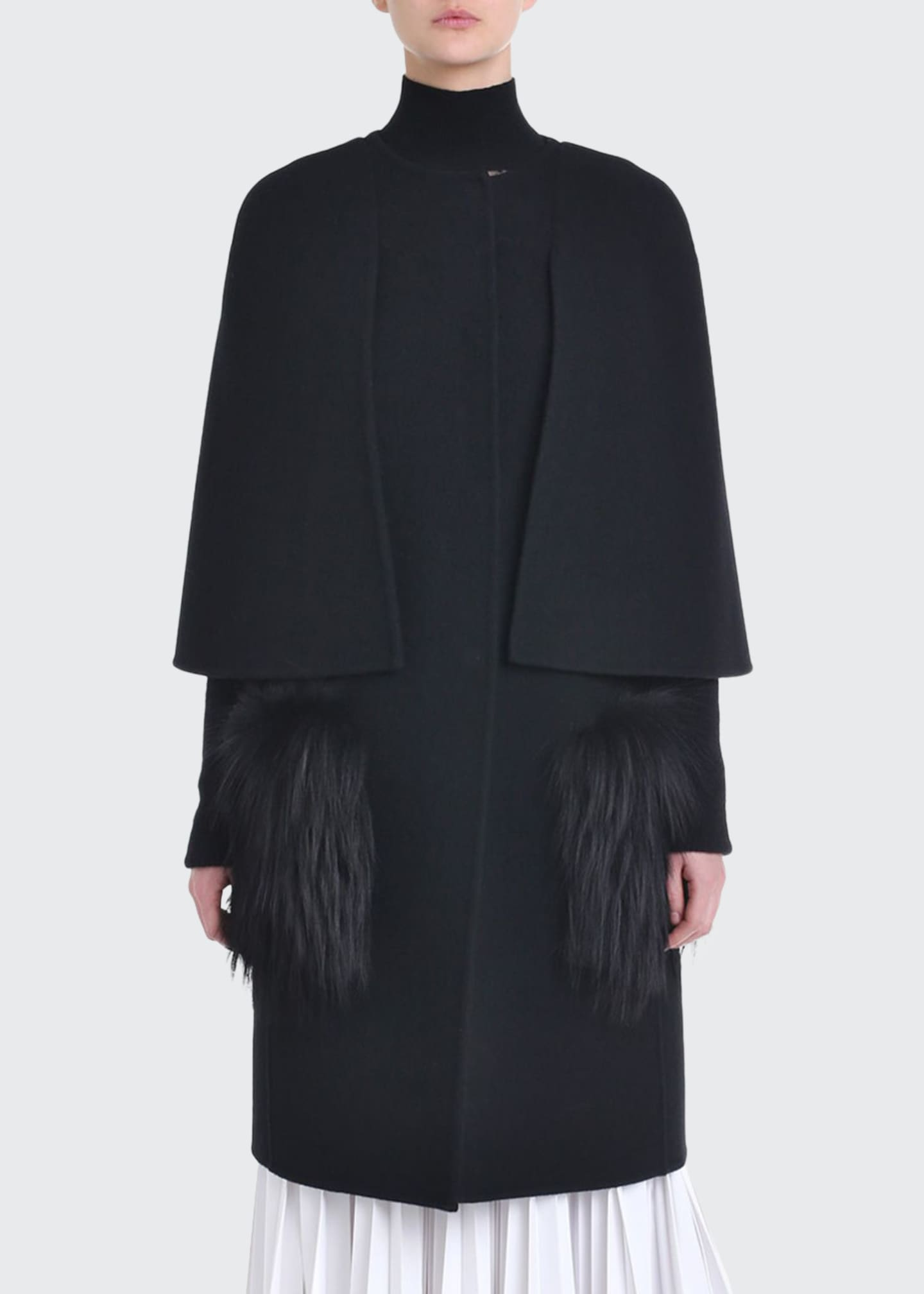 Fendi Cape-Sleeve Fur-Front Wool Coat