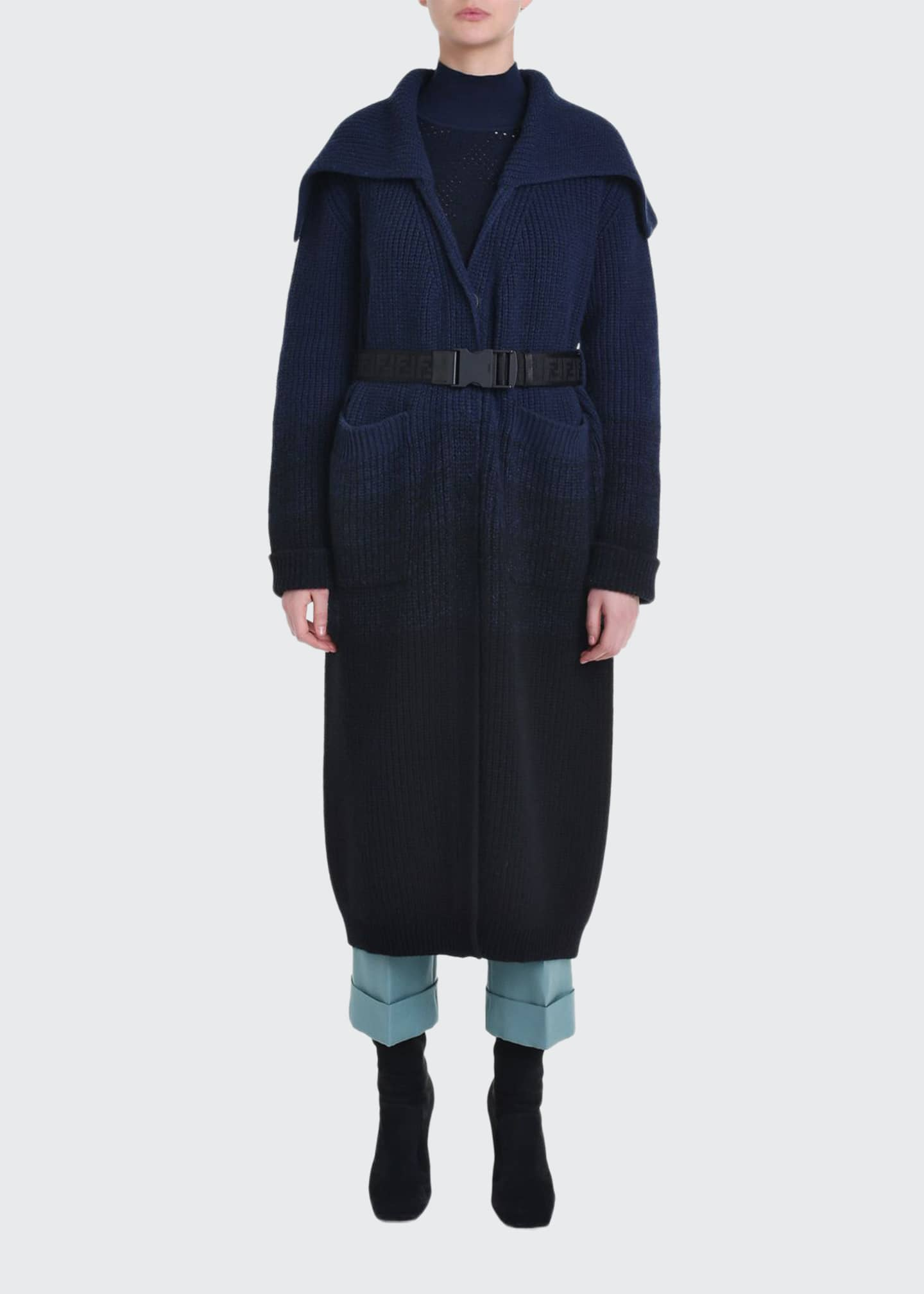 Fendi Ombre Ribbed Knit Coat