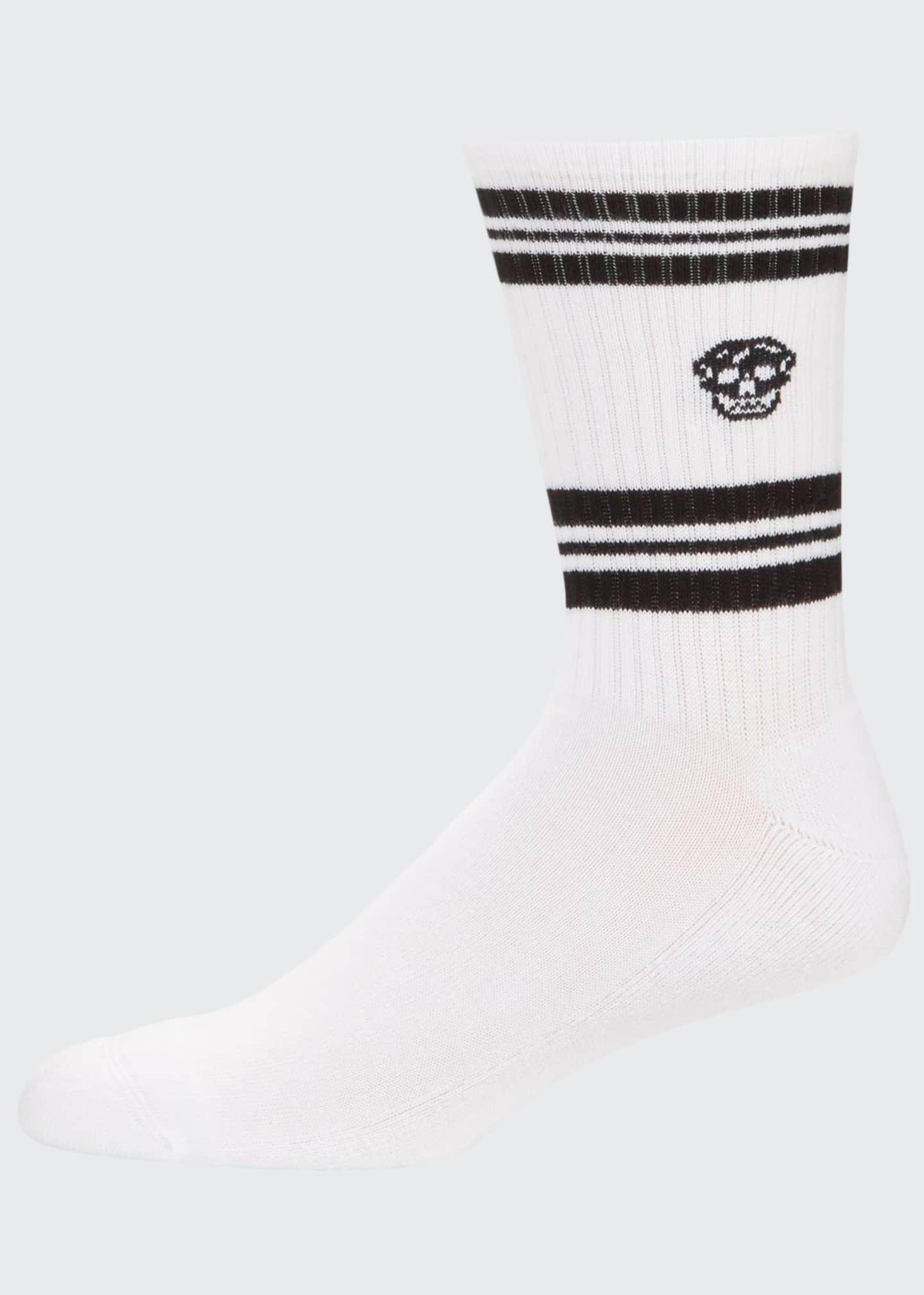 Alexander McQueen Men's Striped Skull Socks