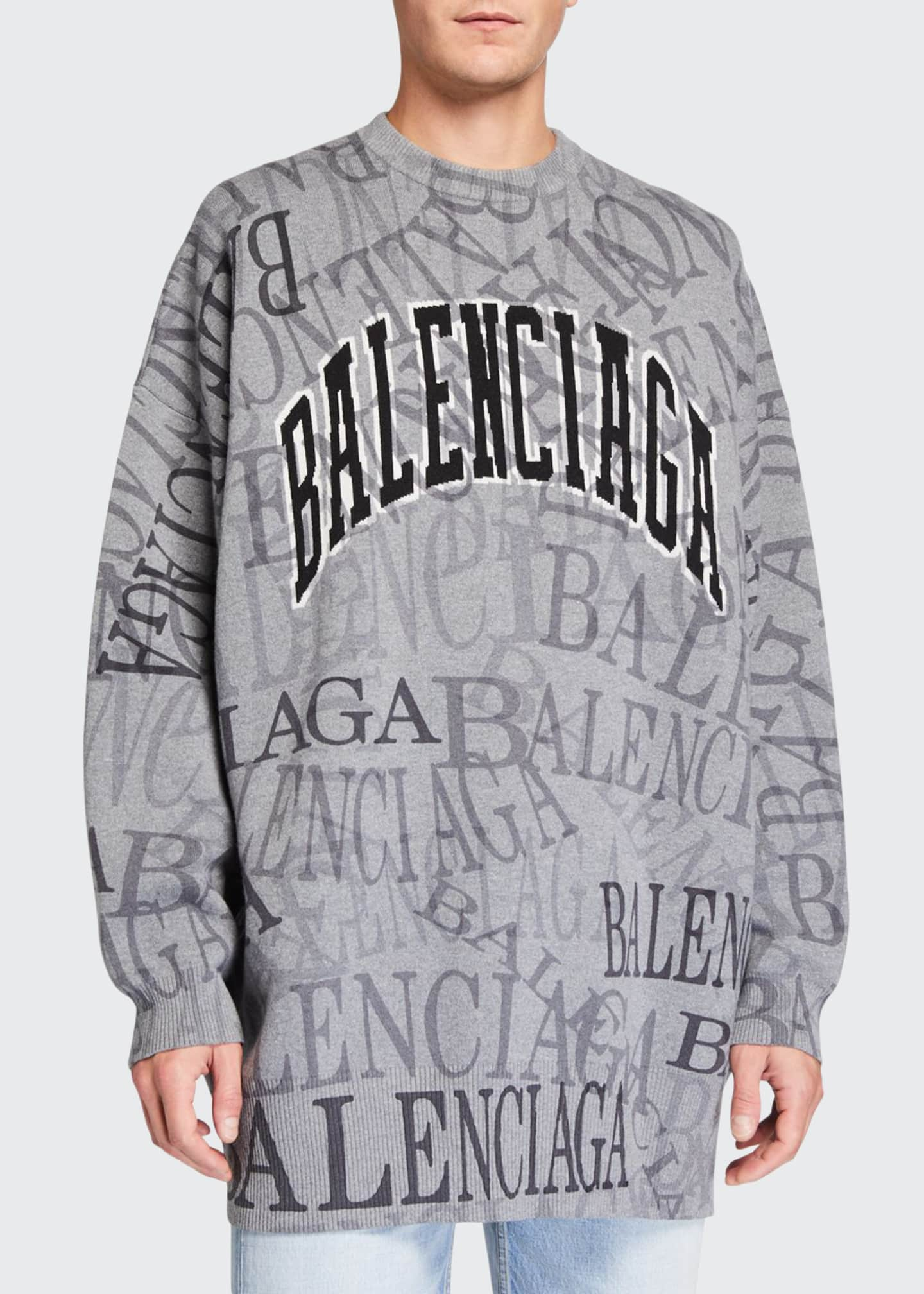 Balenciaga Men's Oversized Logo Typographic Sweater