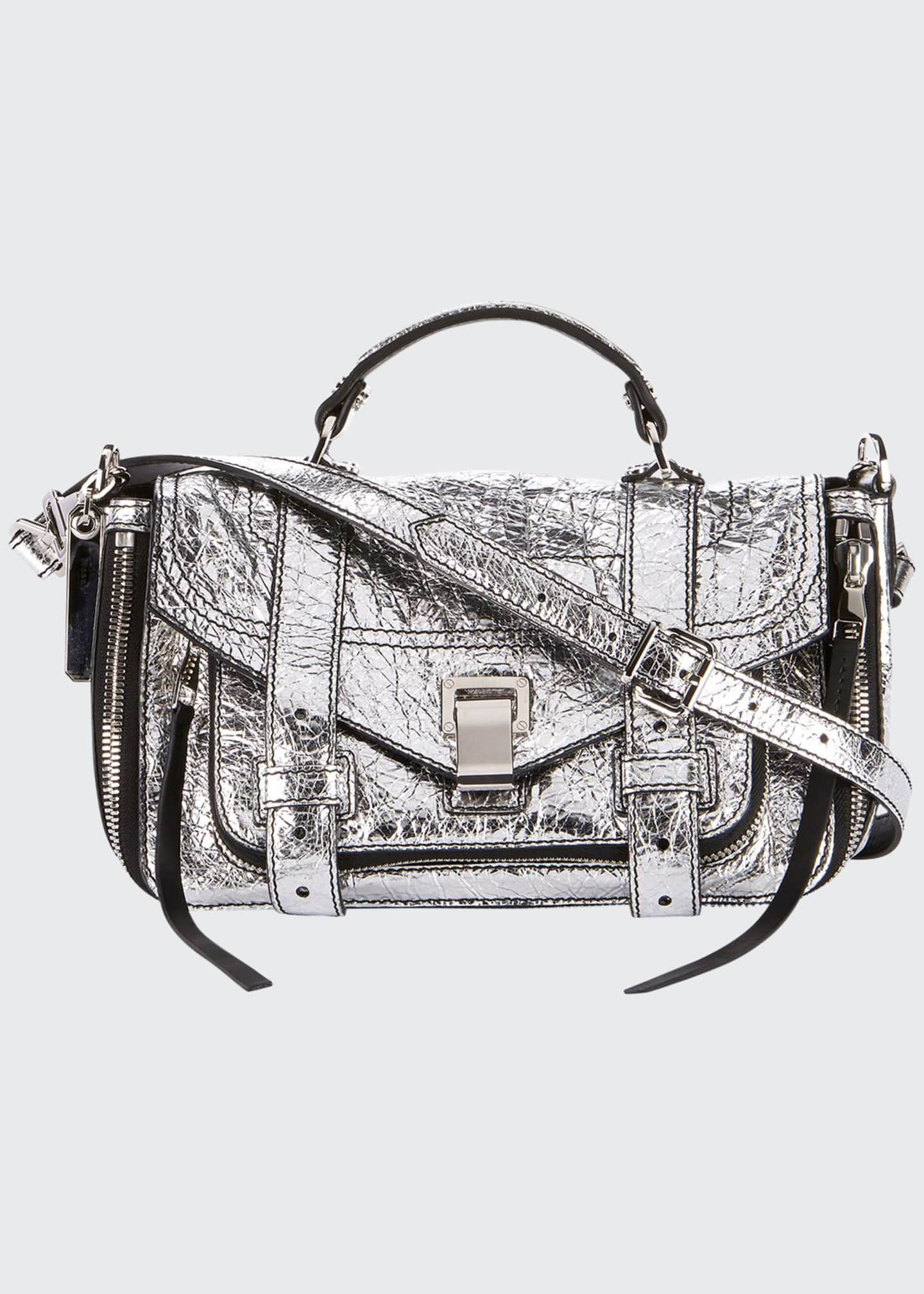 Image 1 of 3: PS1+ Tiny Metallic Leather Satchel Bag