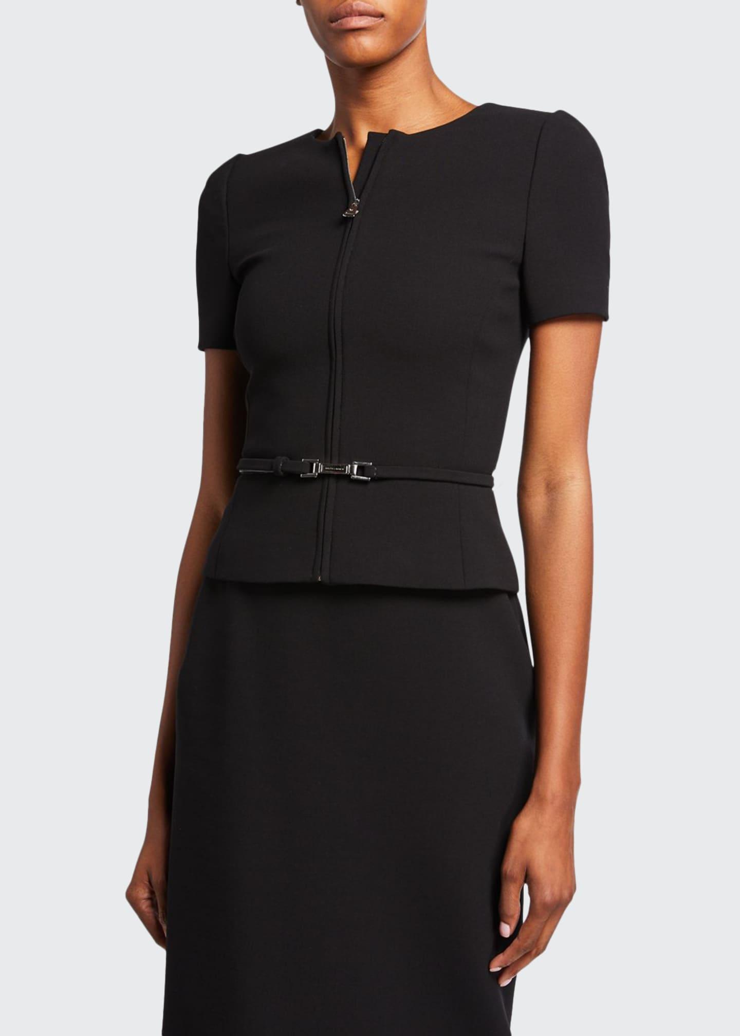 Ralph Lauren Collection Azalea Short-Sleeve Wool Crepe Jacket