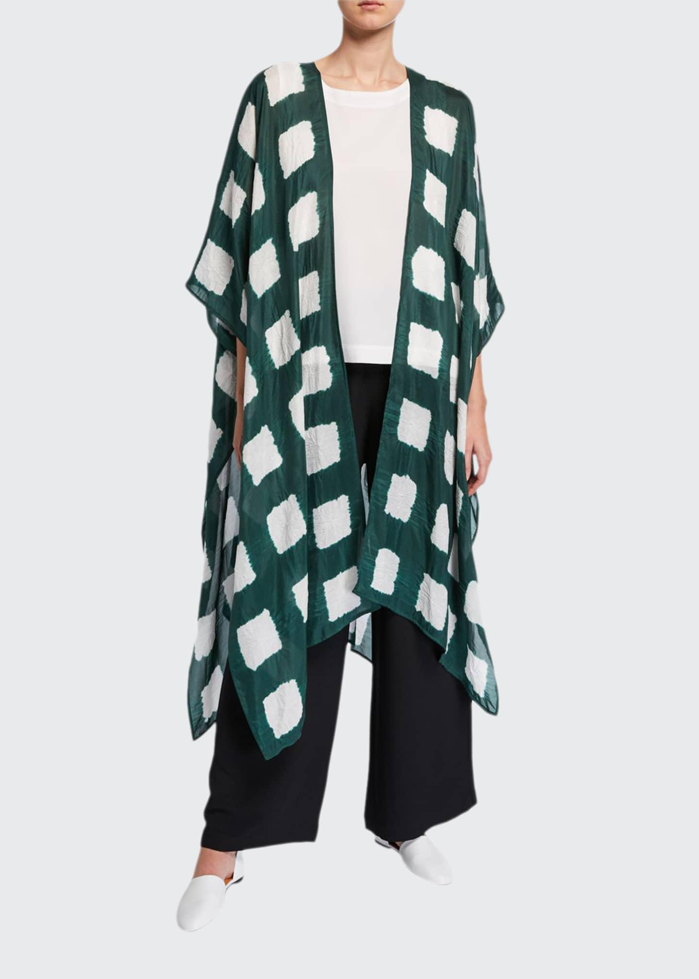 Eskandar Long Cape-Sleeve Tie-Dye Silk Kimono Jacket