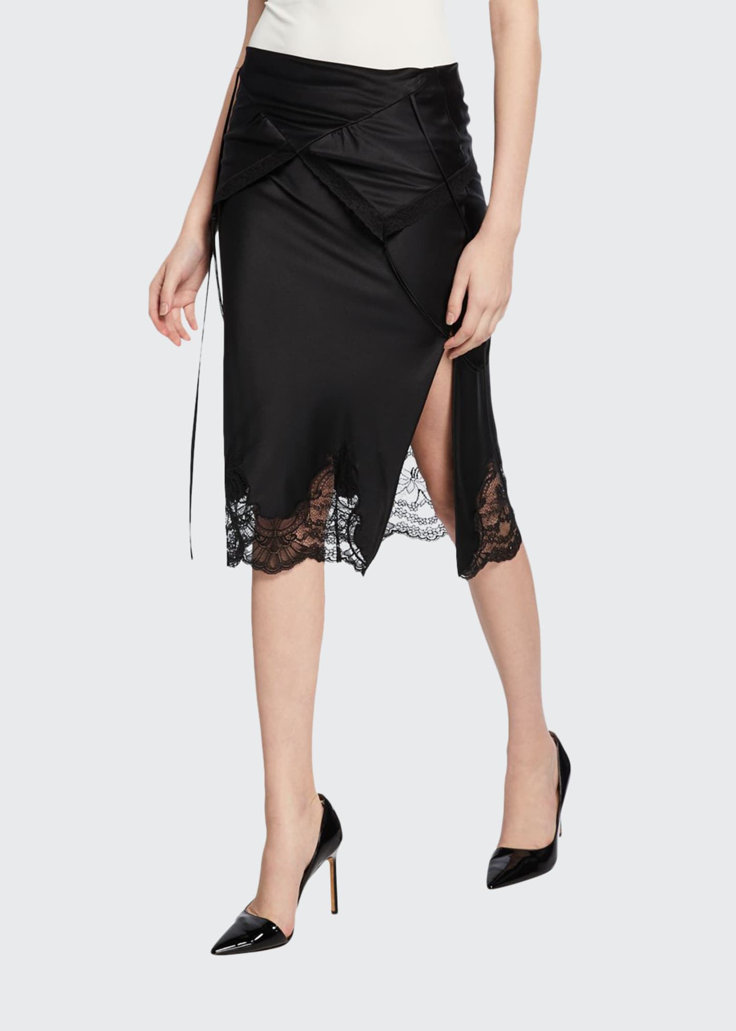 Alexander Wang Draped Fold-Over Slip Skirt with Lace