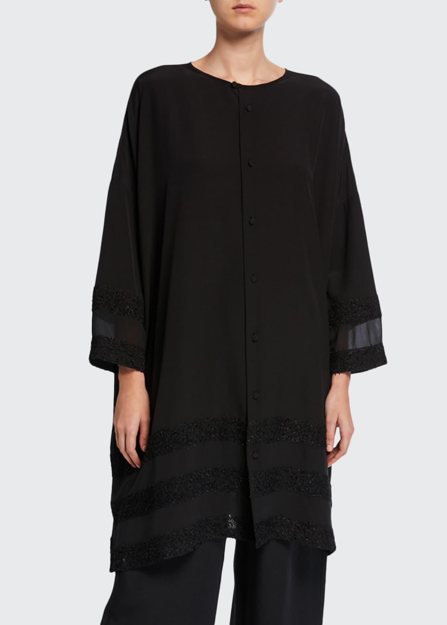 Eskandar Long Sheer-Paneled Button-Front Shirt