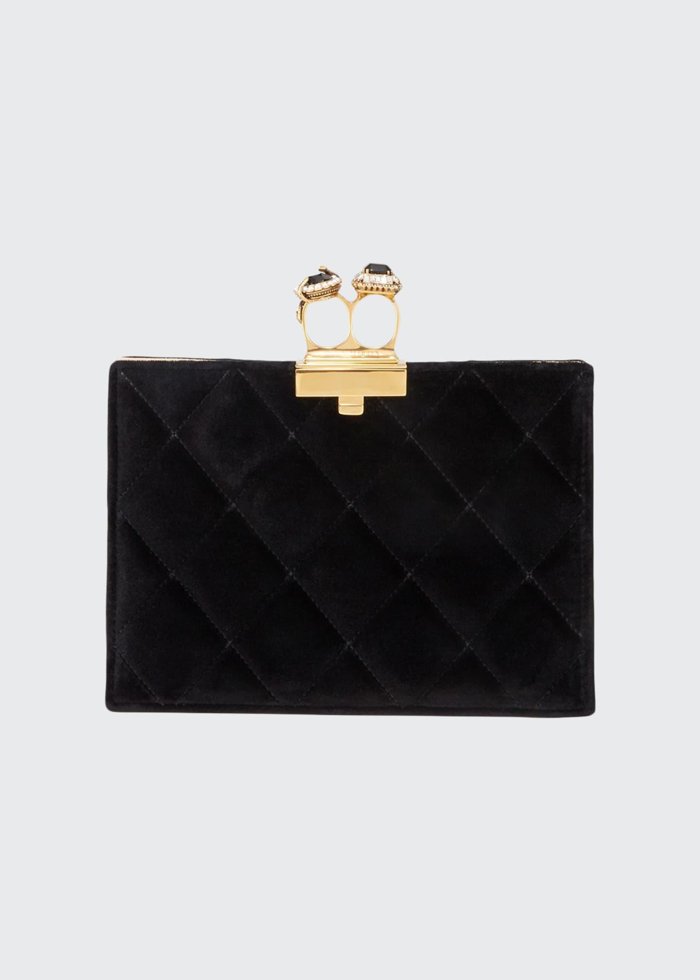 Alexander McQueen Two-Ring Quilted Velvet Clutch Bag