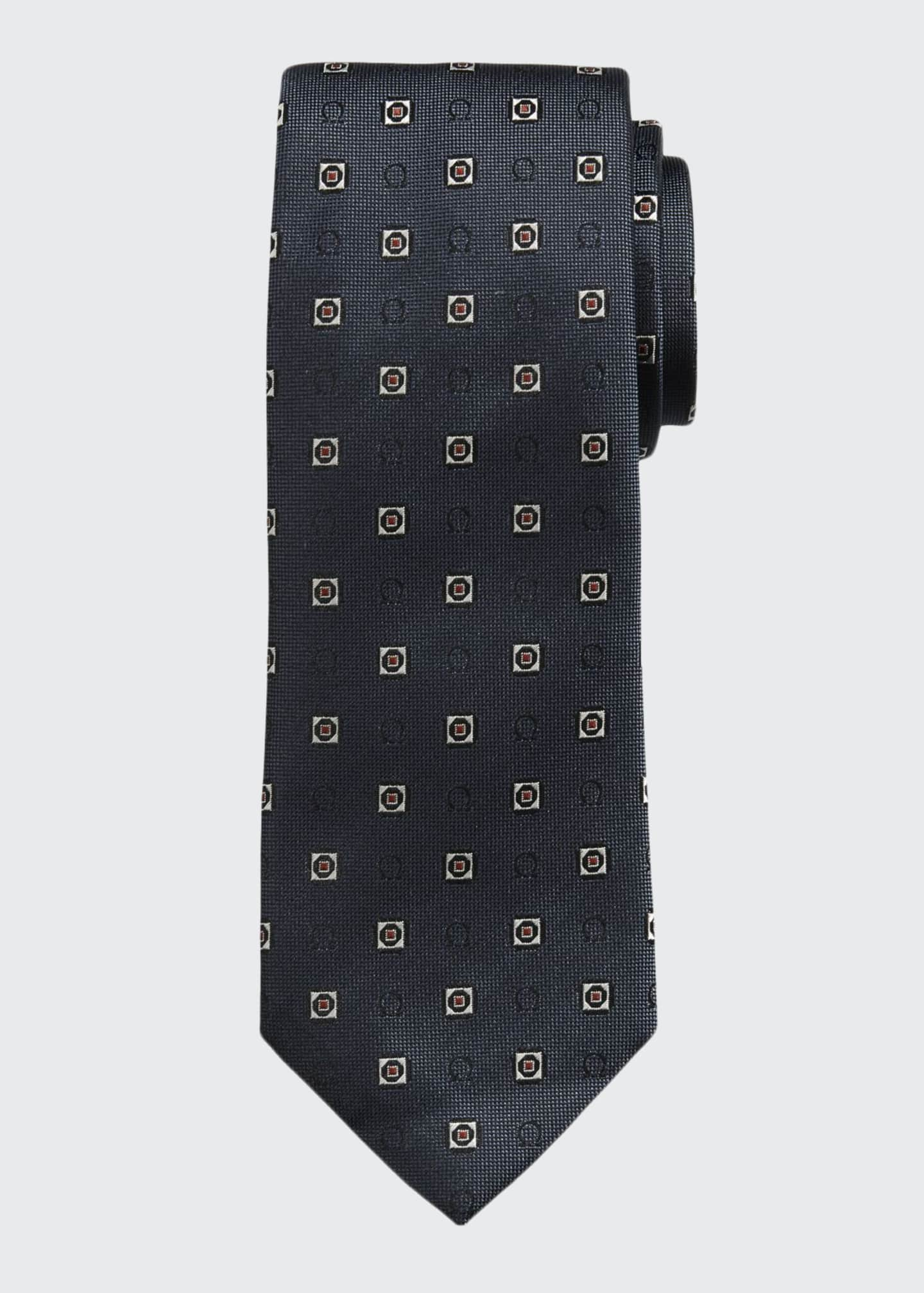 Salvatore Ferragamo Men's Gancini Medallion Silk Tie, Navy