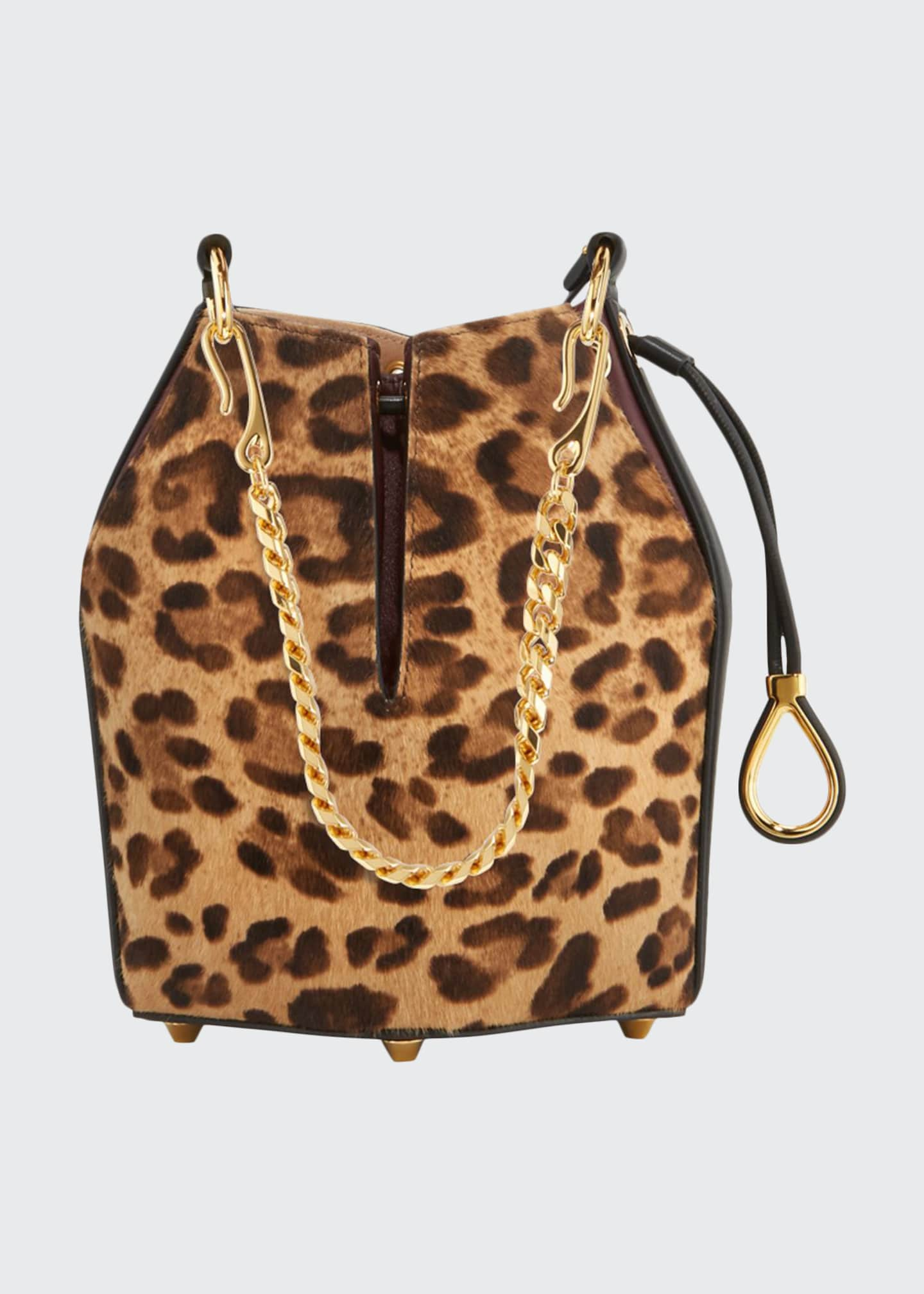 Alexander McQueen Small Leopard Hair Bucket Bag