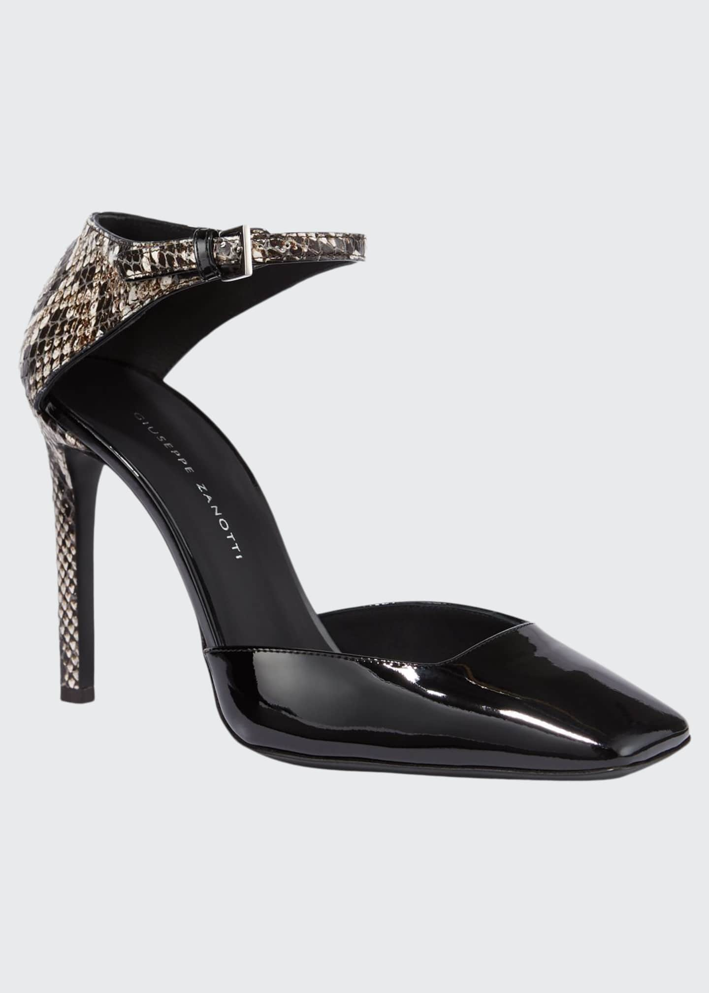 Giuseppe Zanotti Patent and Snake-Print Ankle-Wrap Pumps