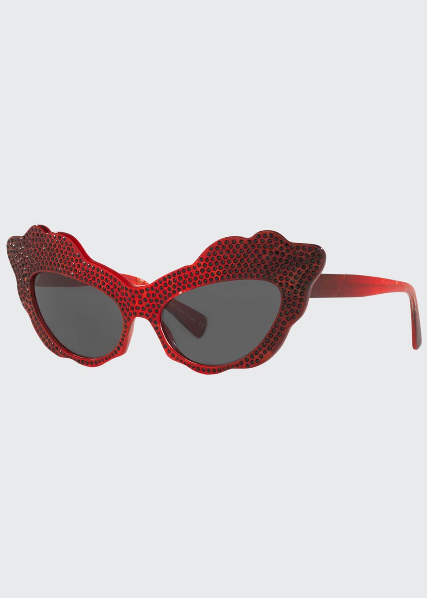 Alain Mikli Aureta Scalloped Cat-Eye Swarovski Crystal Sunglasses