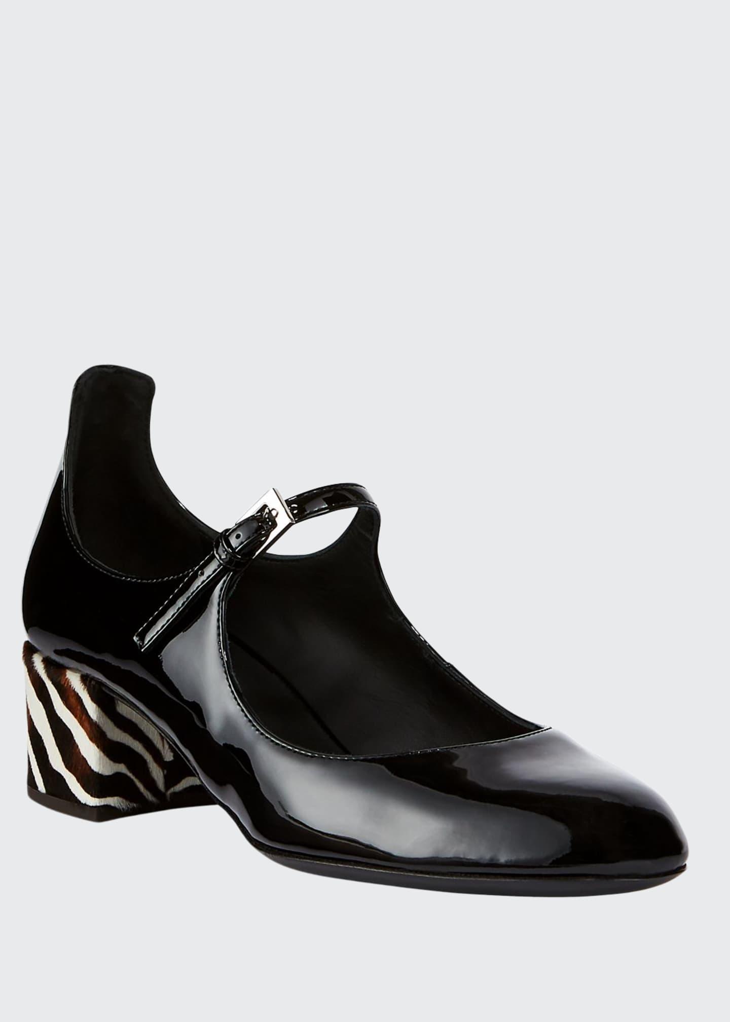 Giuseppe Zanotti Patent Leather Zebra Fur Mary Jane