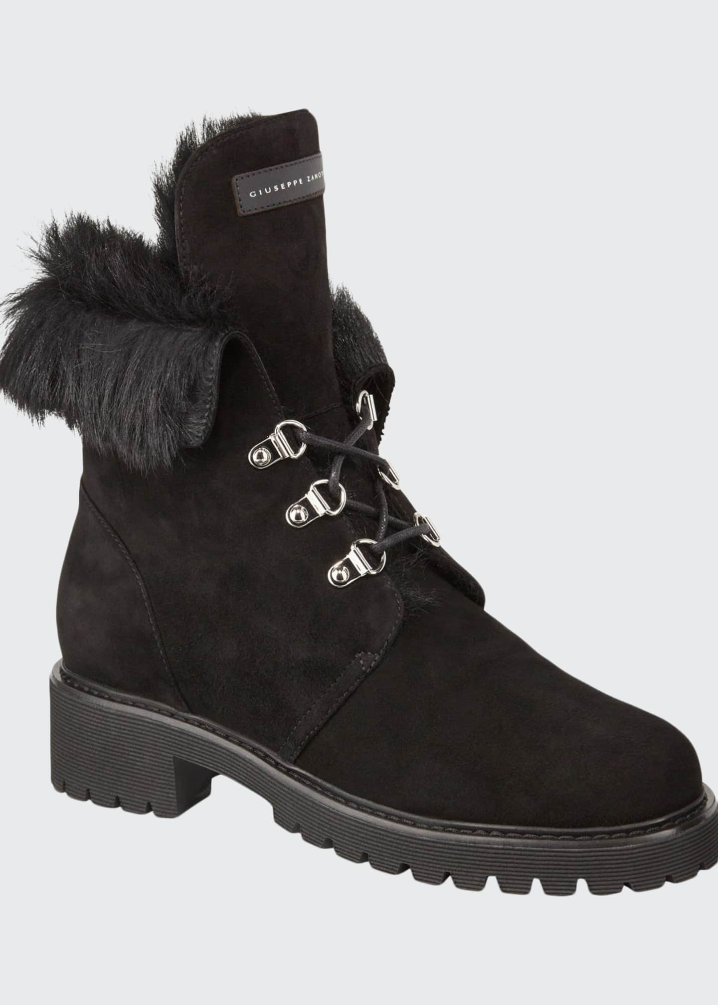 Giuseppe Zanotti Fur-Lined Suede Lace-Up Boots