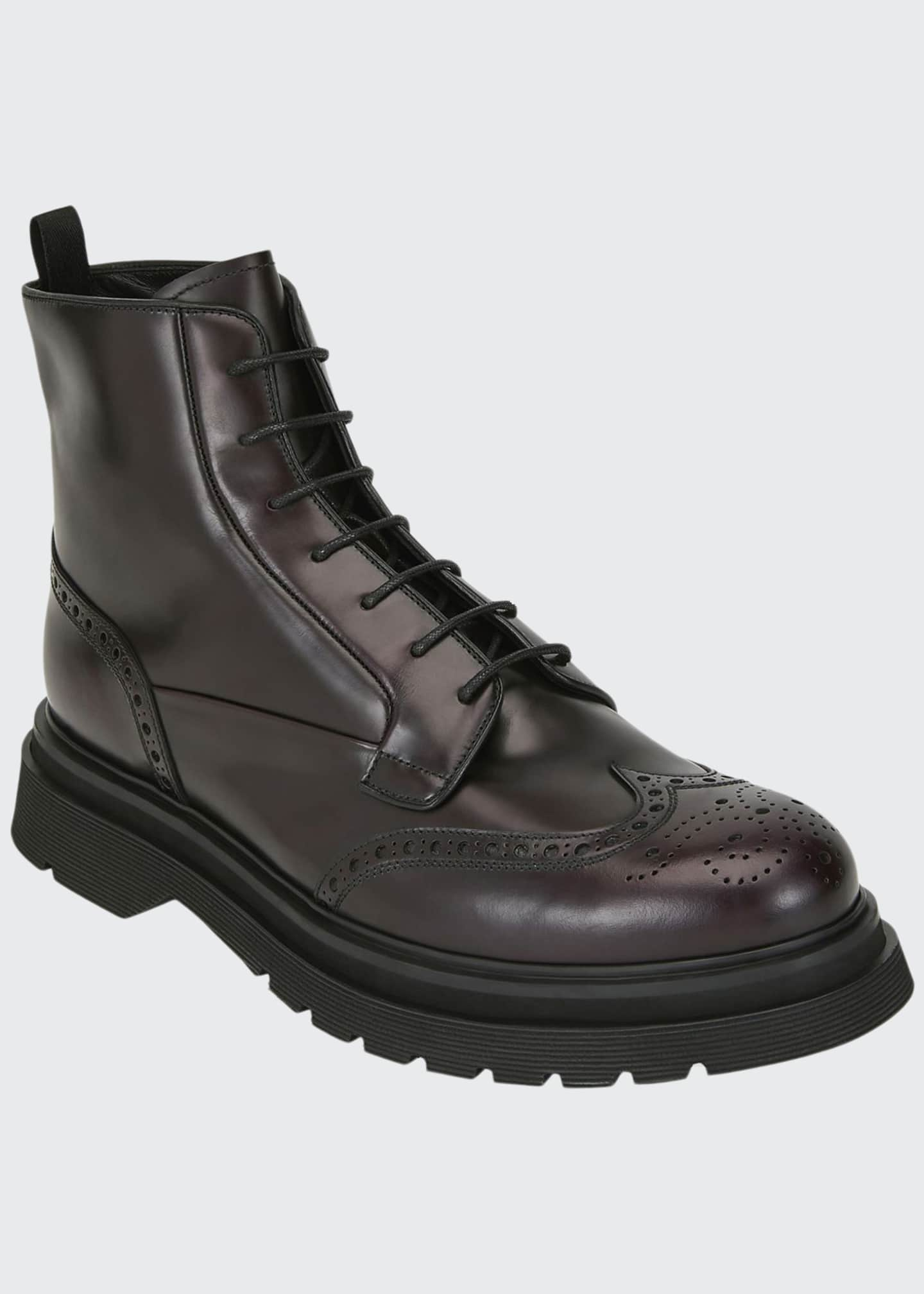 Image 1 of 3: Men's Wing-Tip Leather Combat Boots