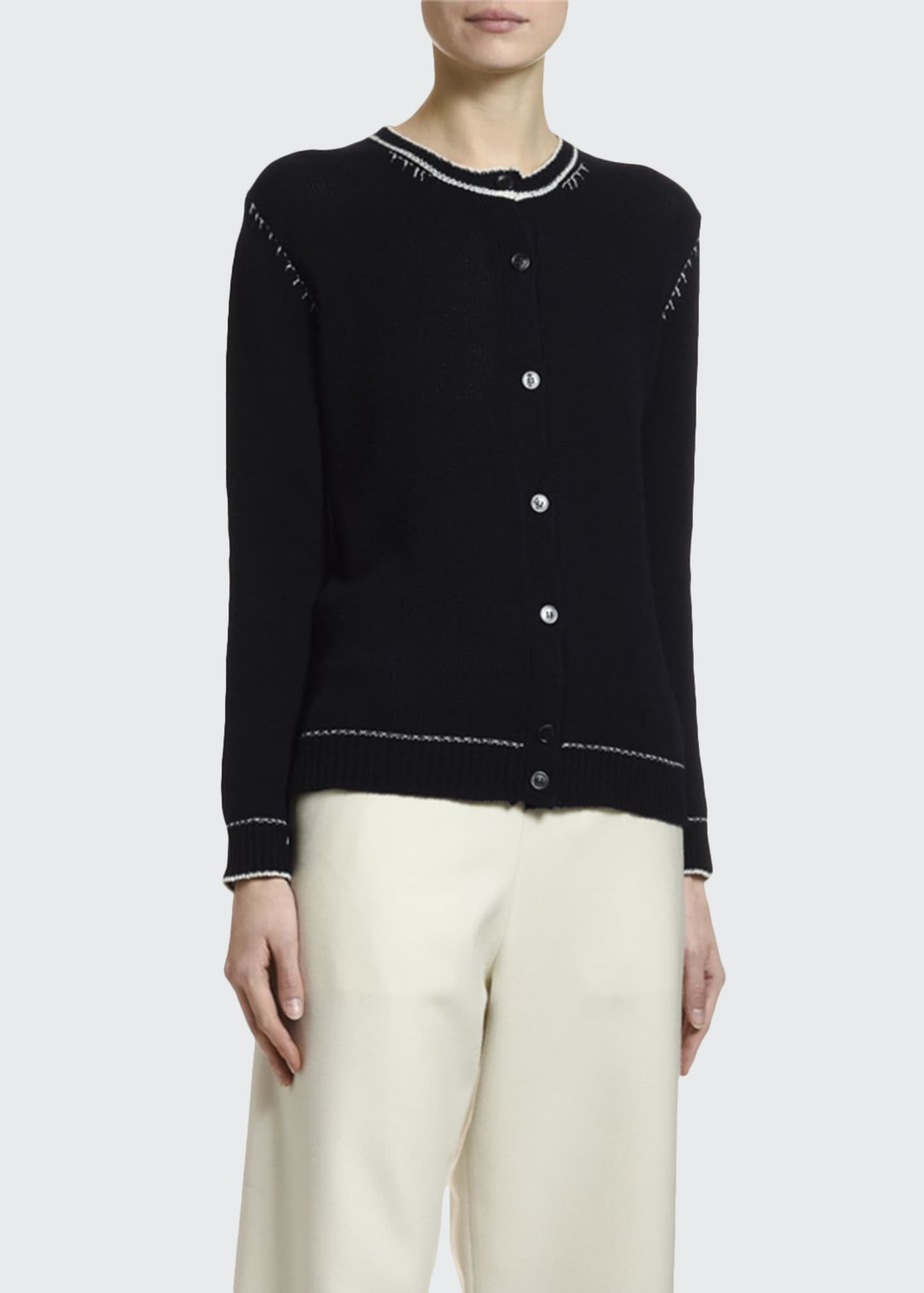 Marni Crewneck Button-Front Cardigan