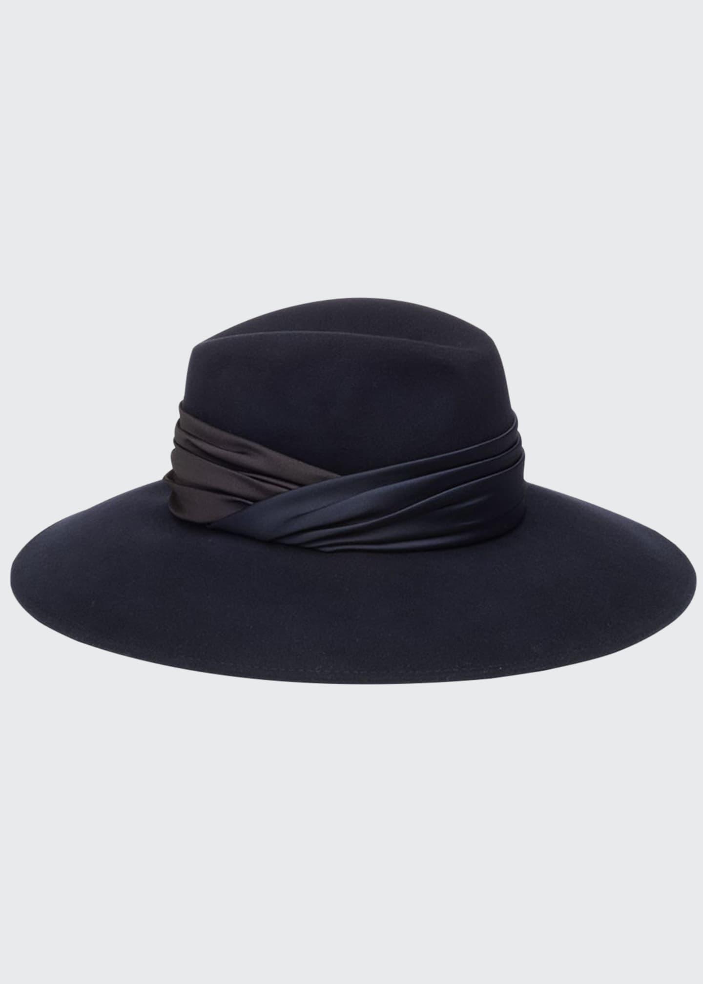 Eugenia Kim Emmanuelle Wool Fedora Hat w/ Ruched