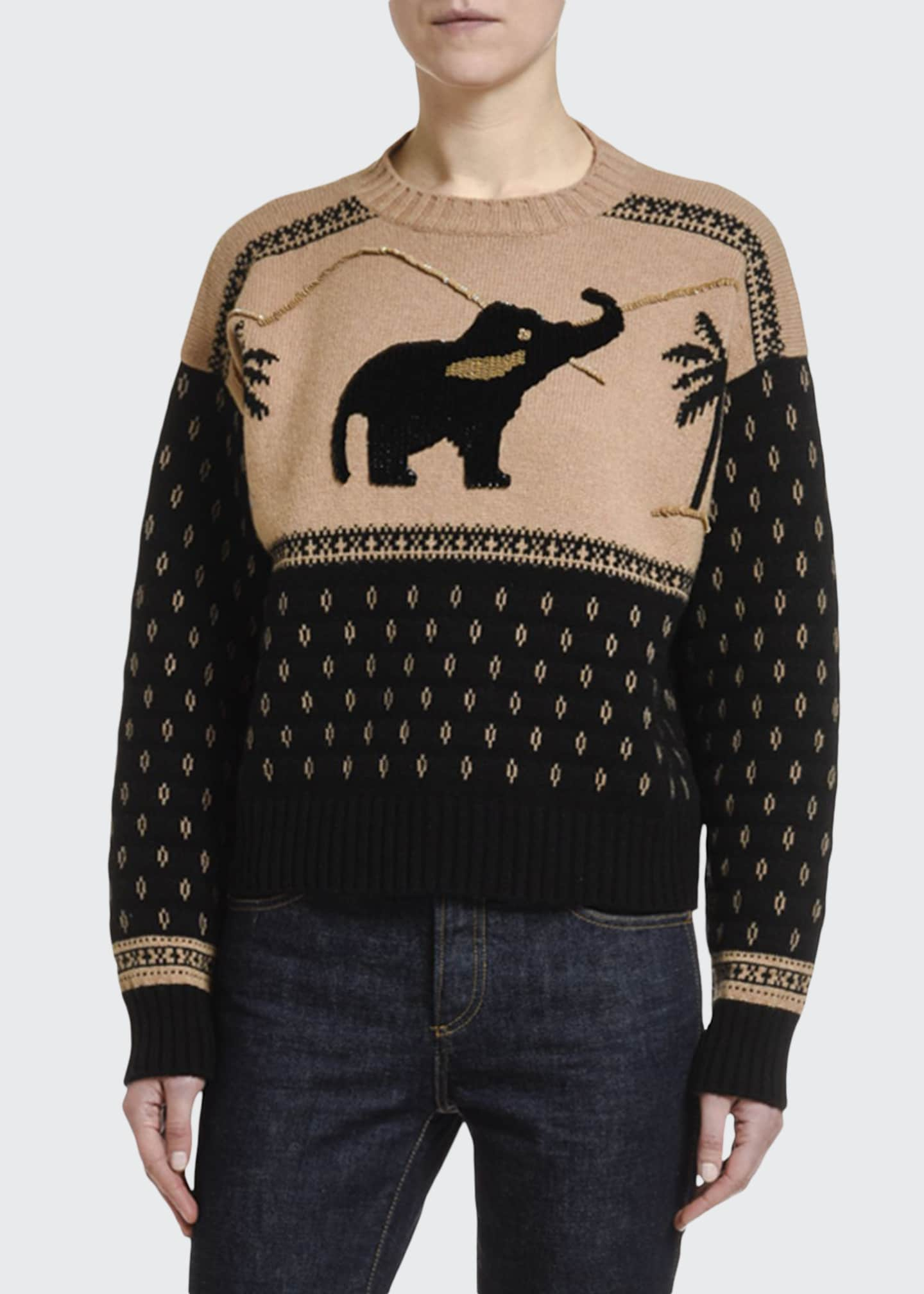 Alanui Wool-Cashmere Hand-Sequined Elephant Sweater
