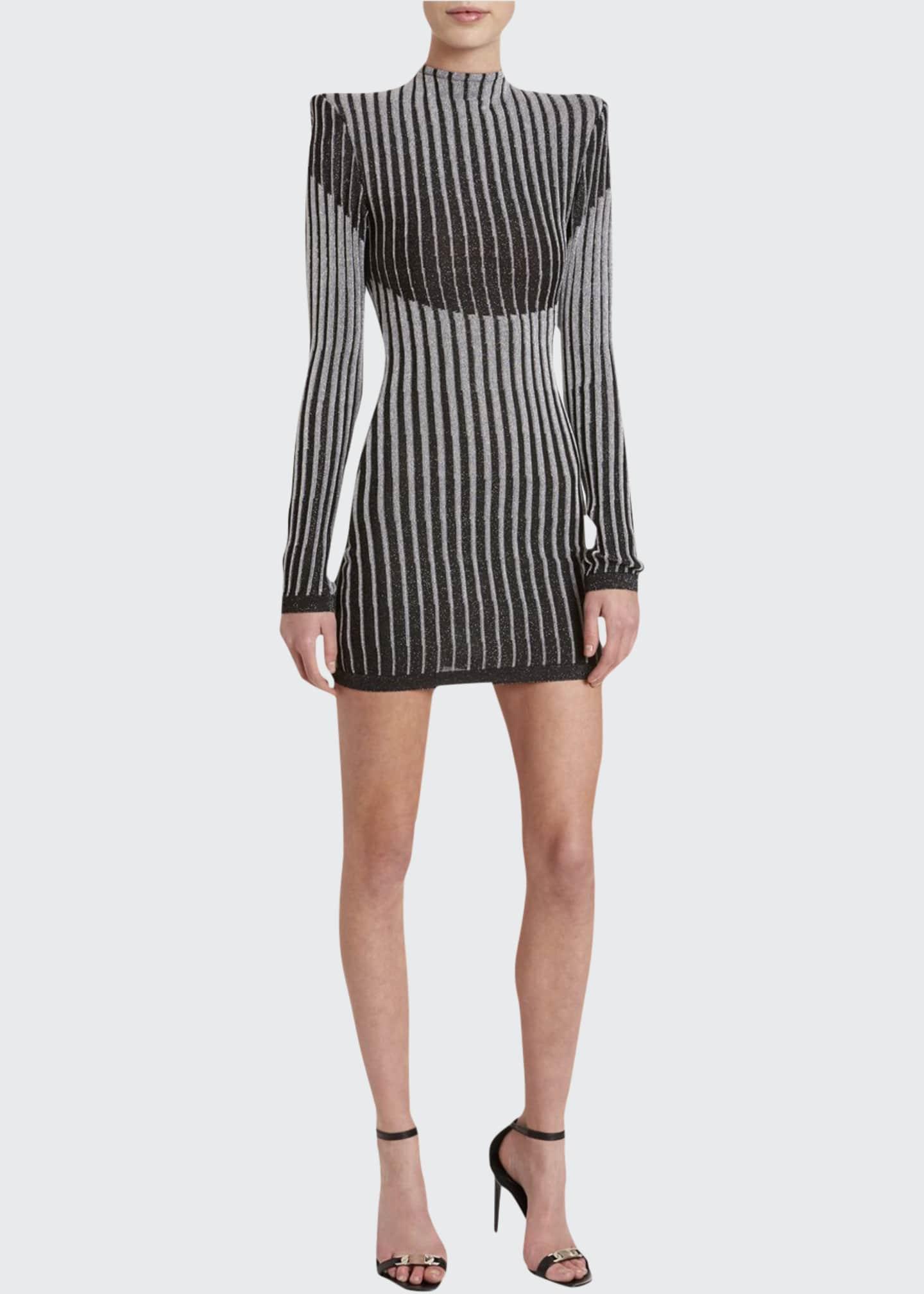Balmain Striped High-Neck Bodycon Cocktail Dress