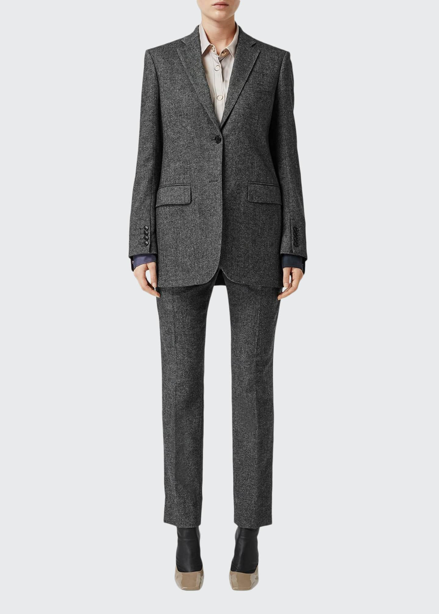 Burberry Marled Wool-Cashmere Boxy Tailored Blazer Jacket